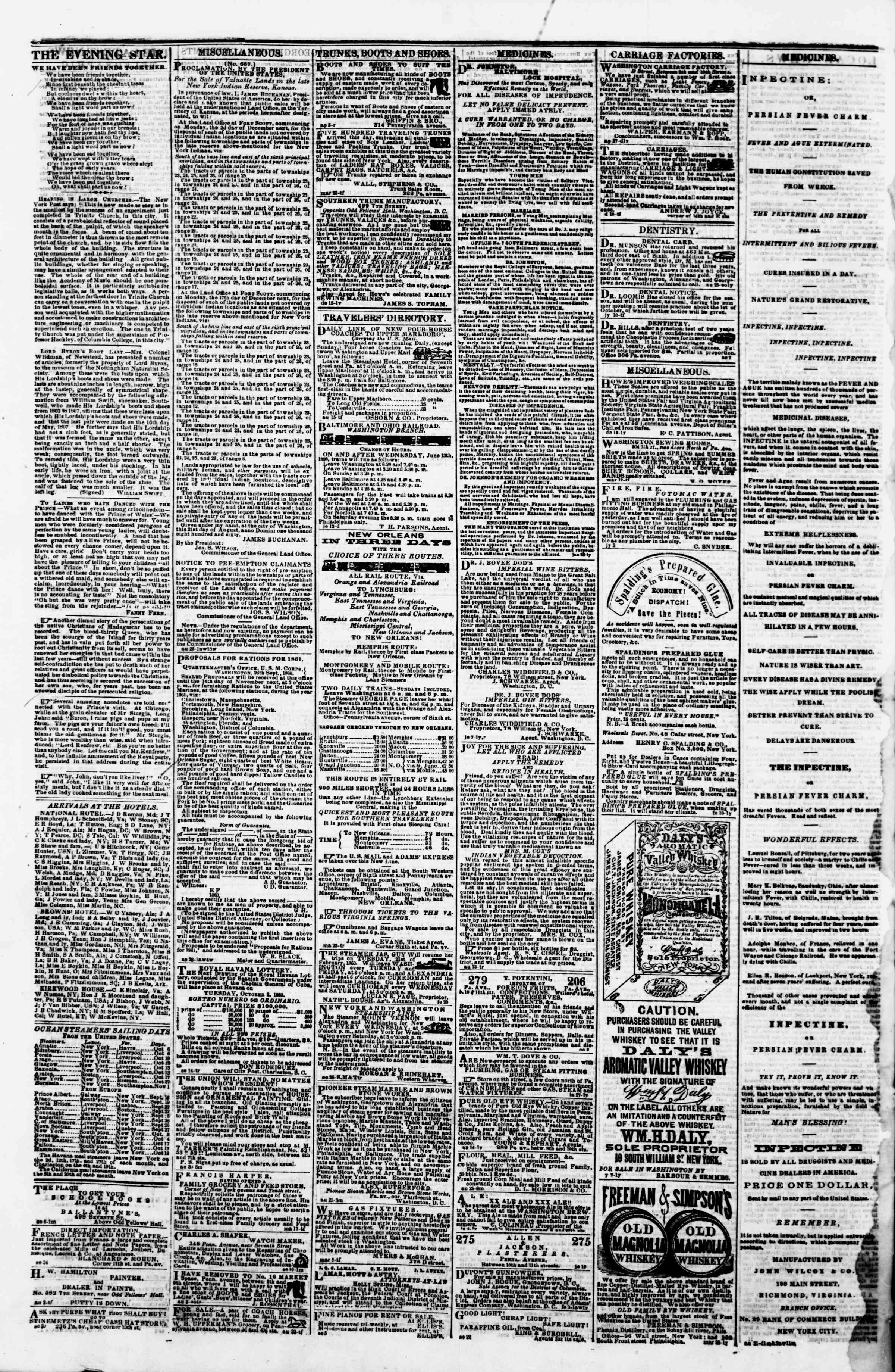 Newspaper of Evening Star dated 2 Ekim 1860 Page 4