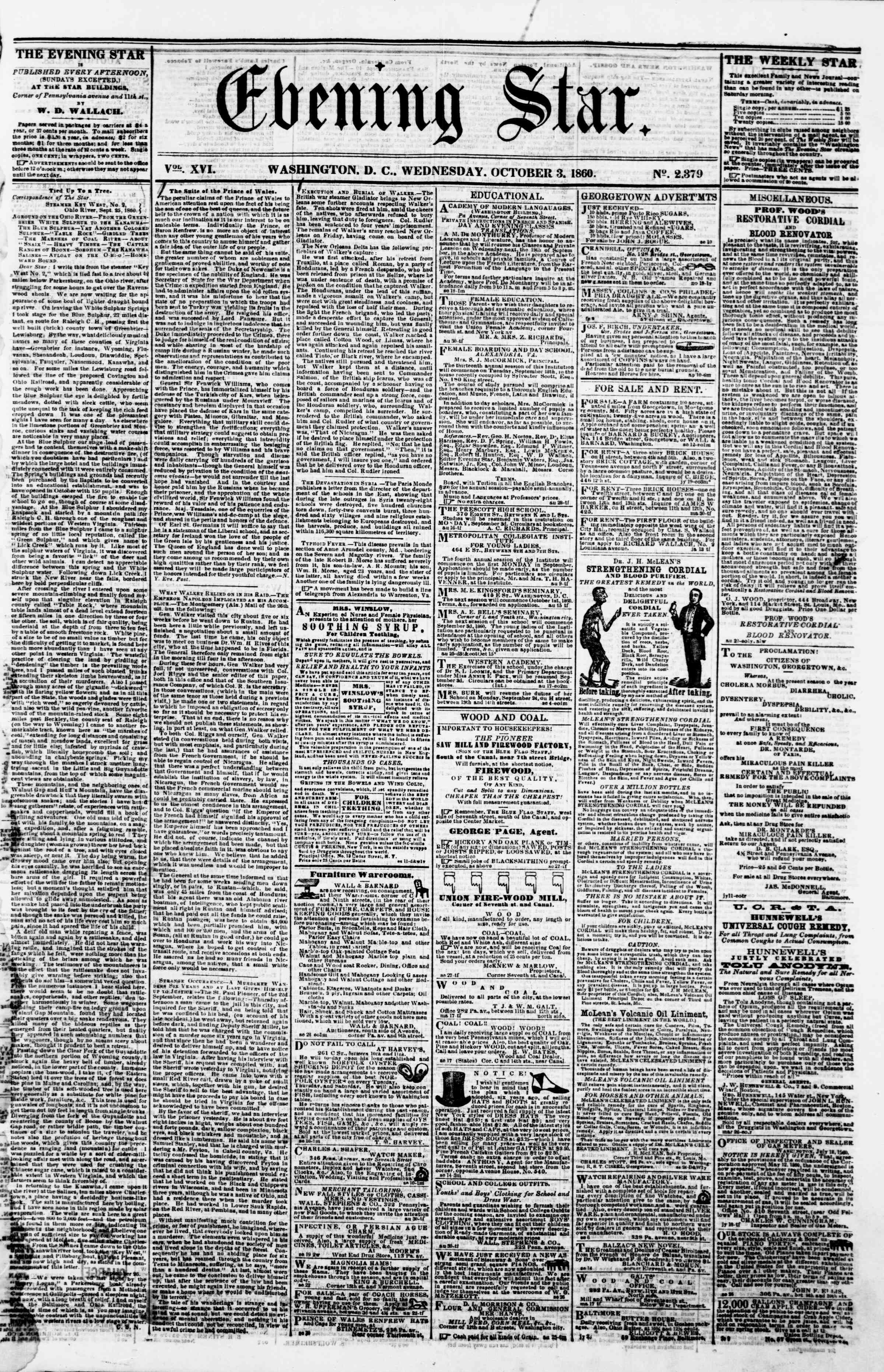 Newspaper of Evening Star dated October 3, 1860 Page 1