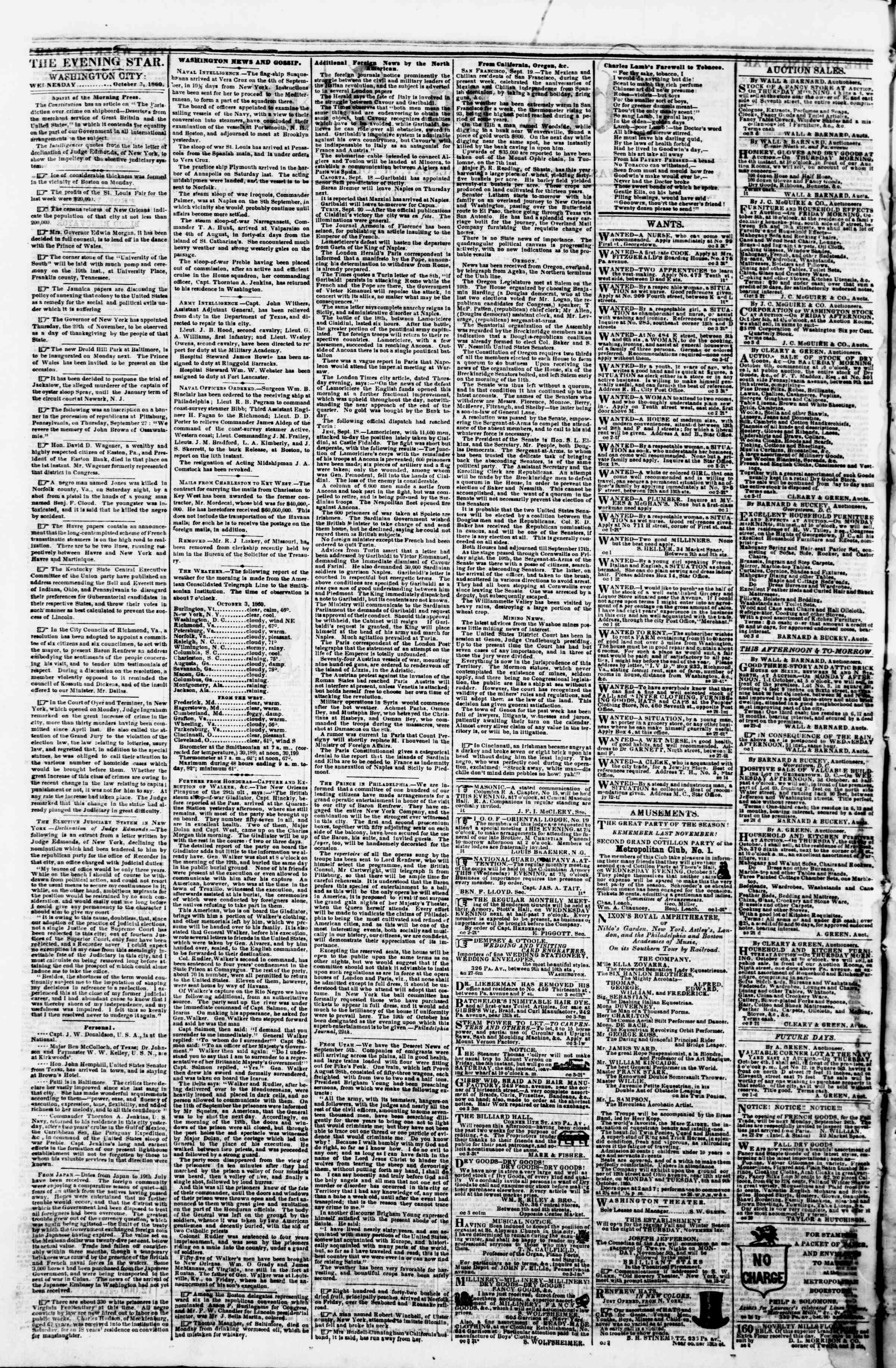 Newspaper of Evening Star dated October 3, 1860 Page 2