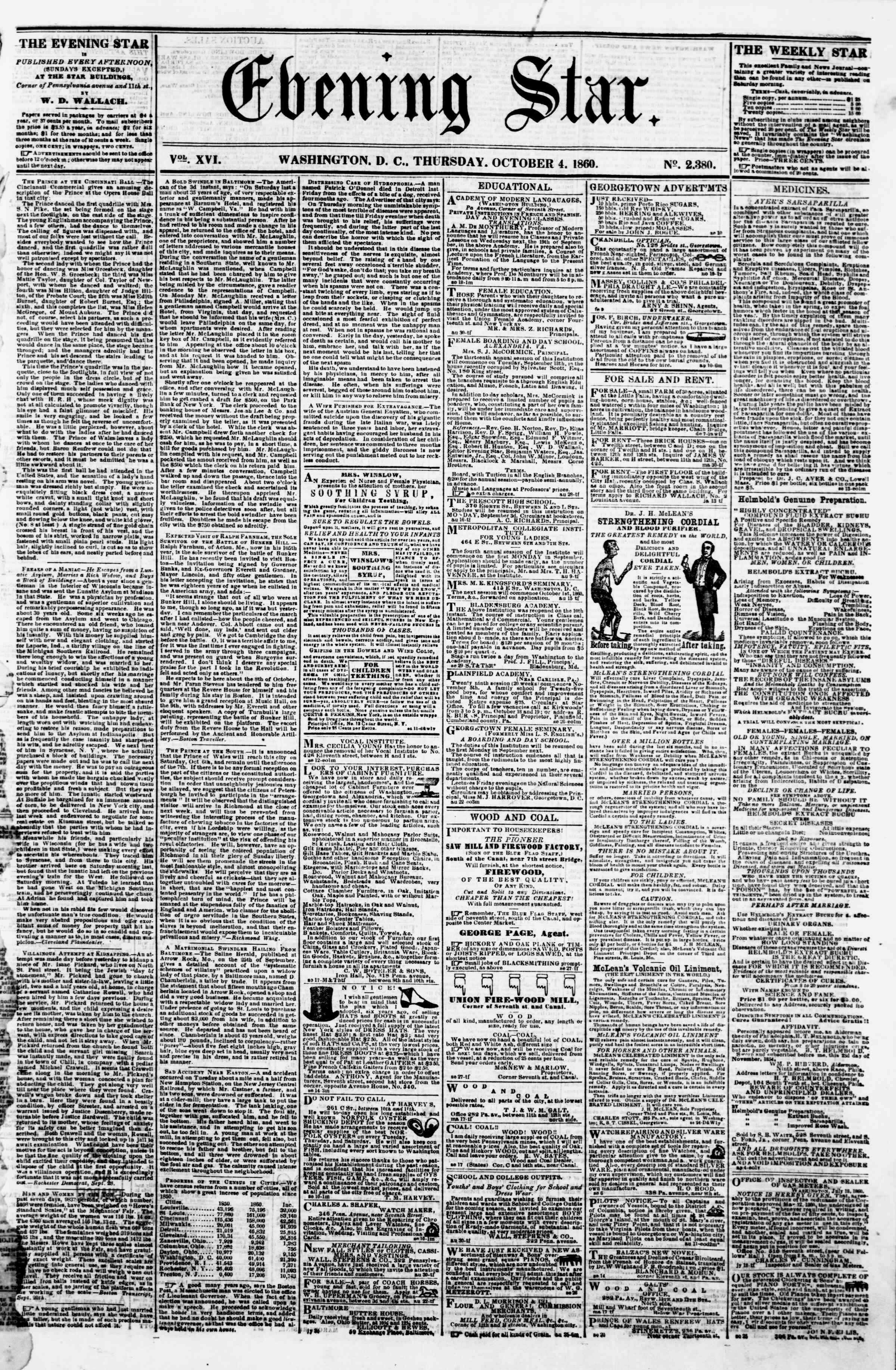 Newspaper of Evening Star dated October 4, 1860 Page 1