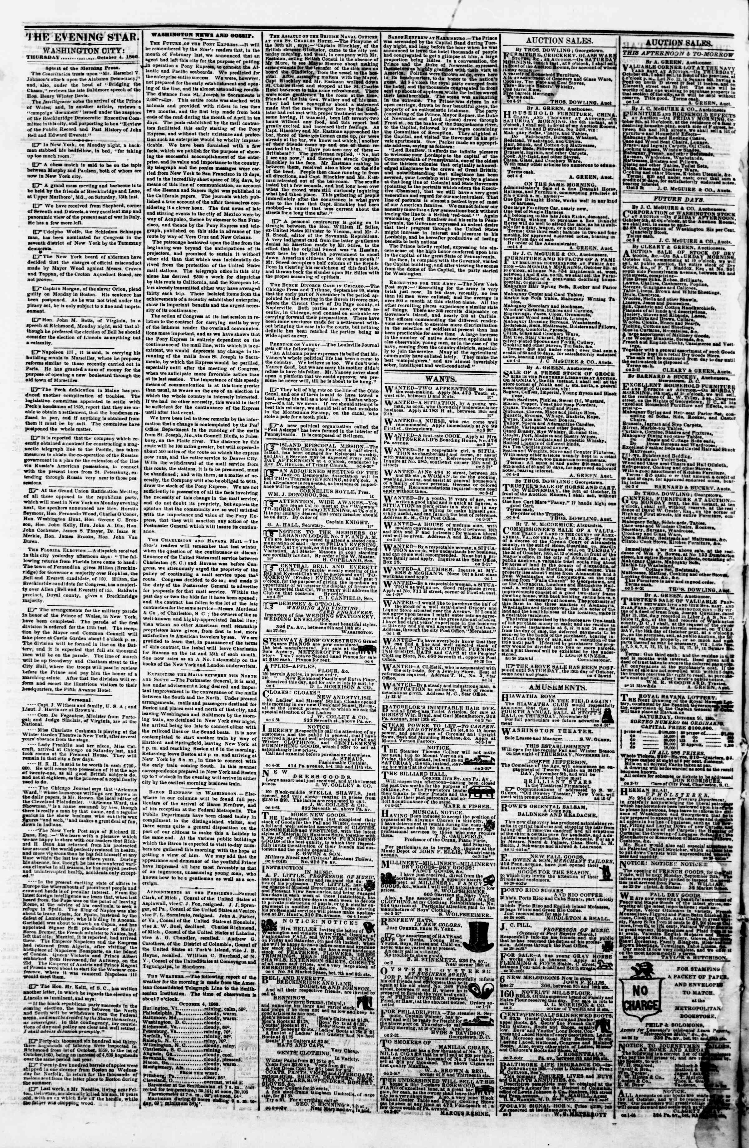 Newspaper of Evening Star dated October 4, 1860 Page 2