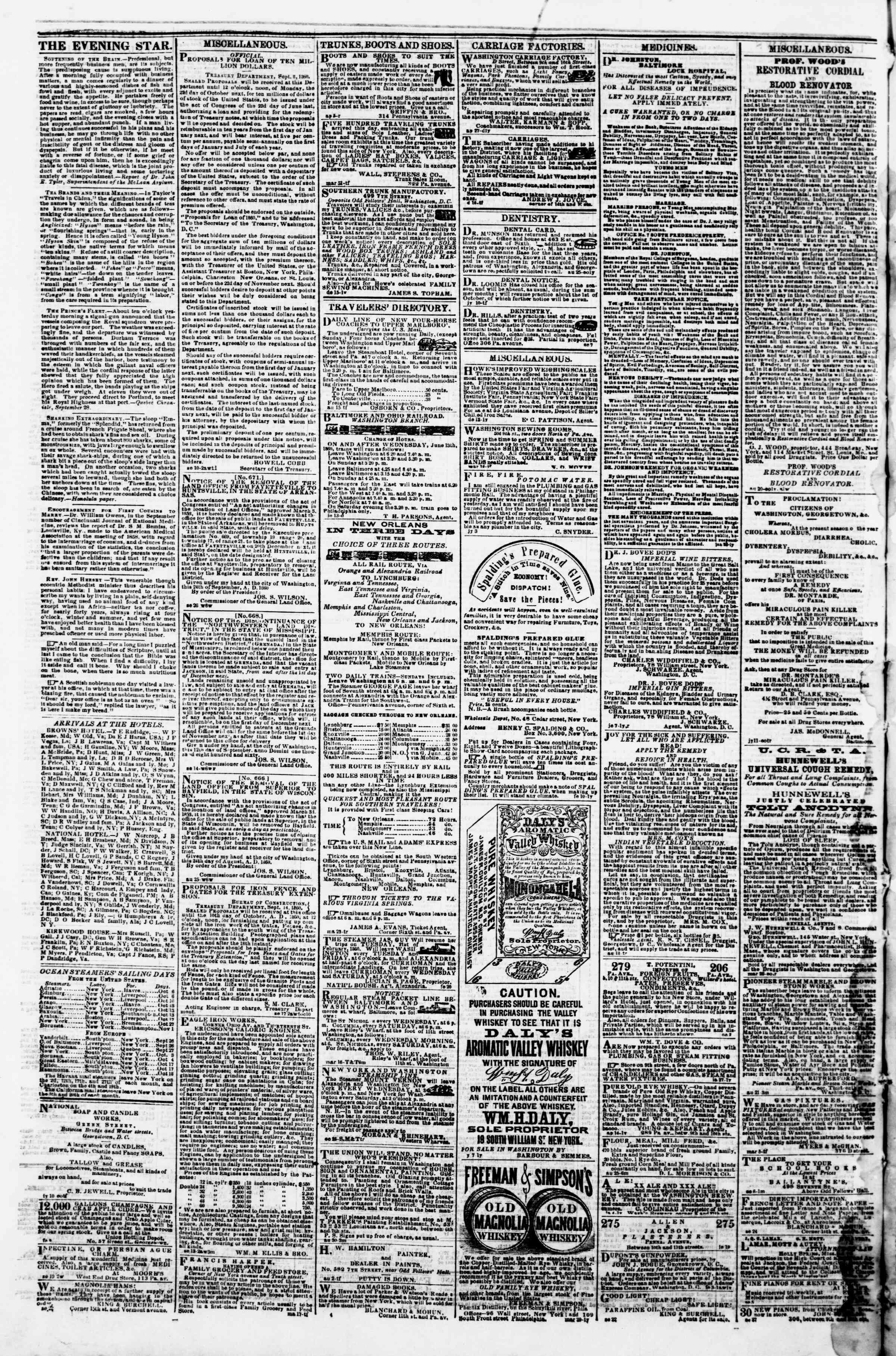 Newspaper of Evening Star dated October 4, 1860 Page 4