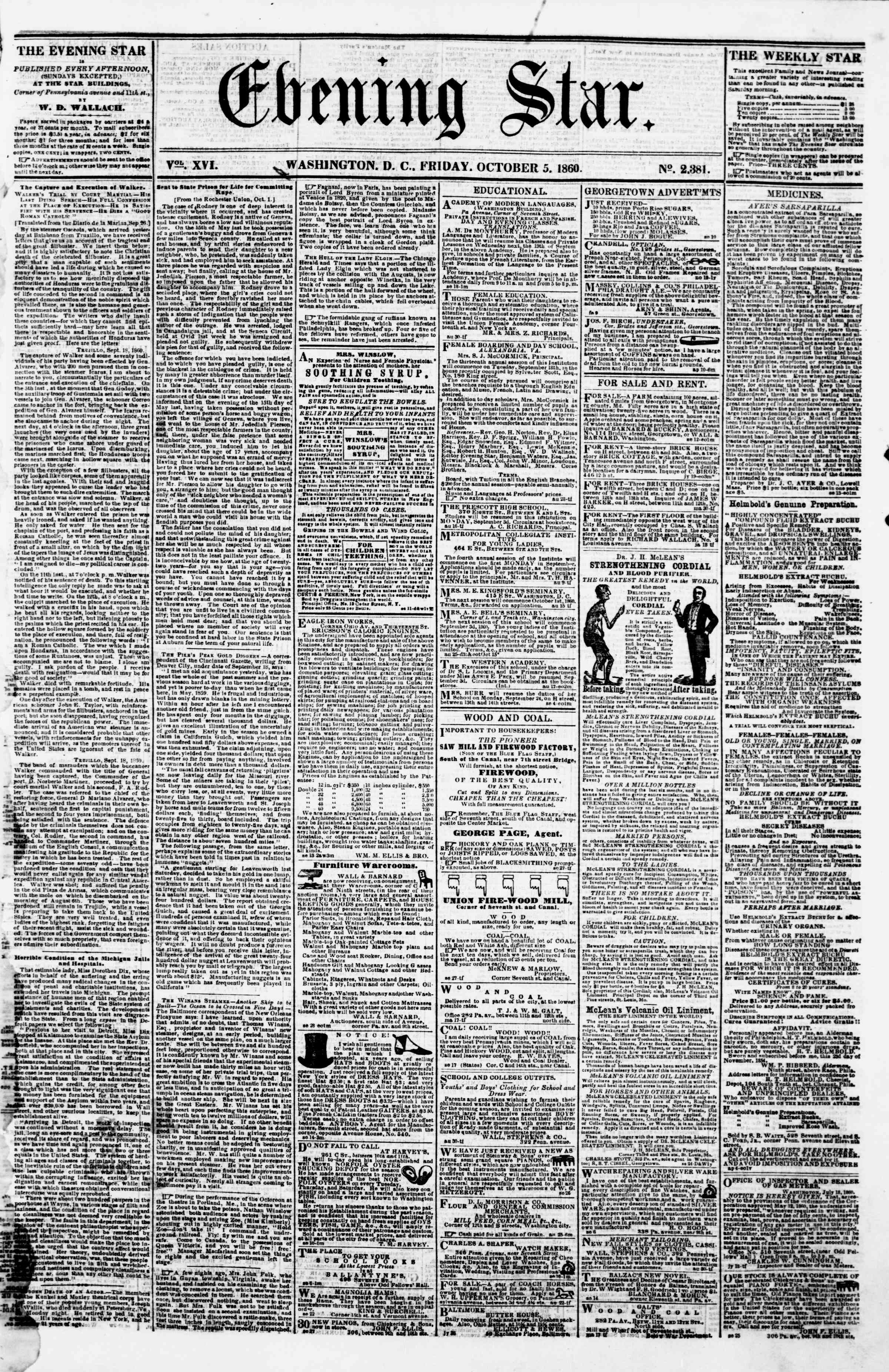 Newspaper of Evening Star dated October 5, 1860 Page 1