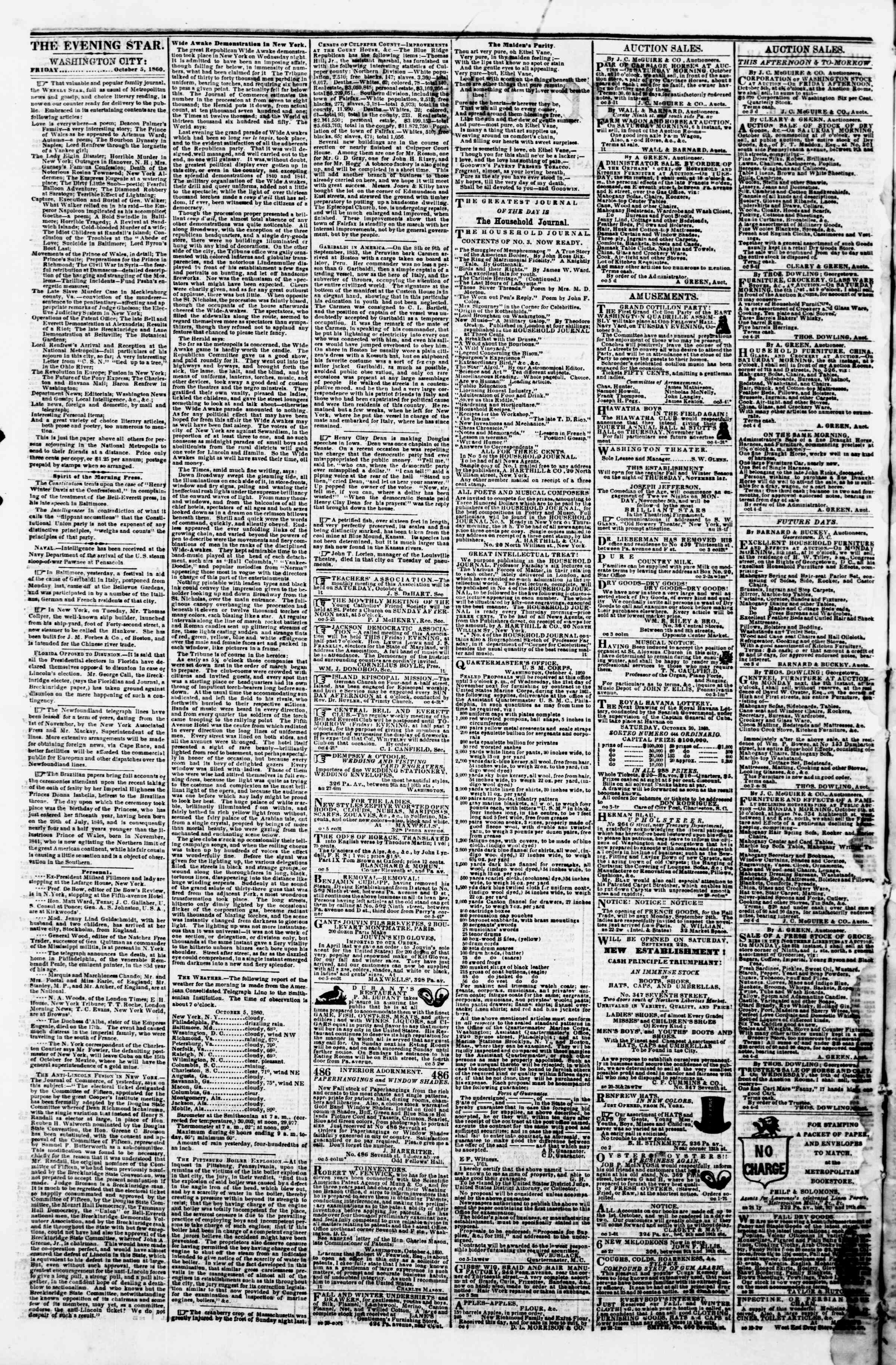 Newspaper of Evening Star dated October 5, 1860 Page 2