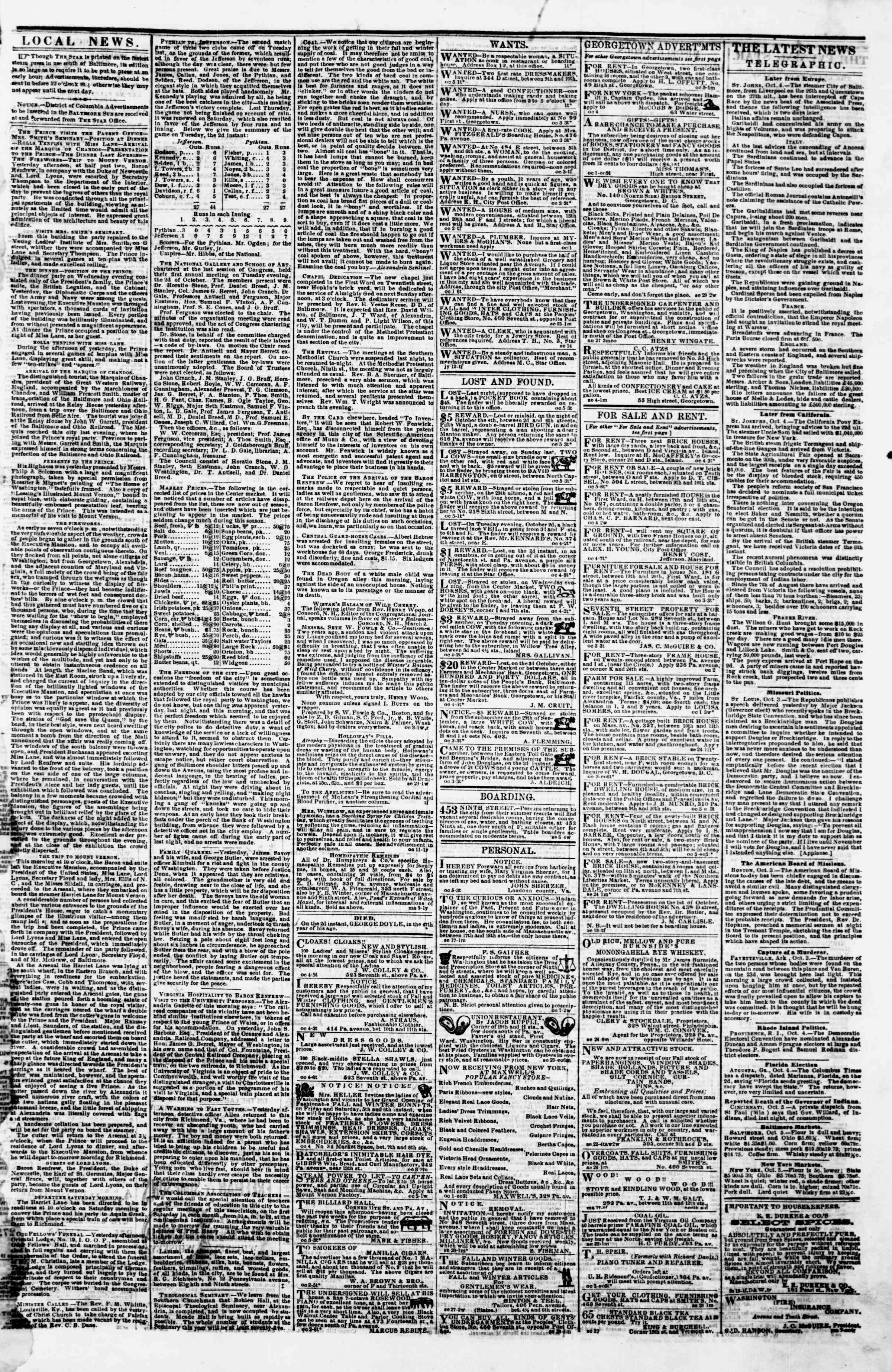Newspaper of Evening Star dated October 5, 1860 Page 3