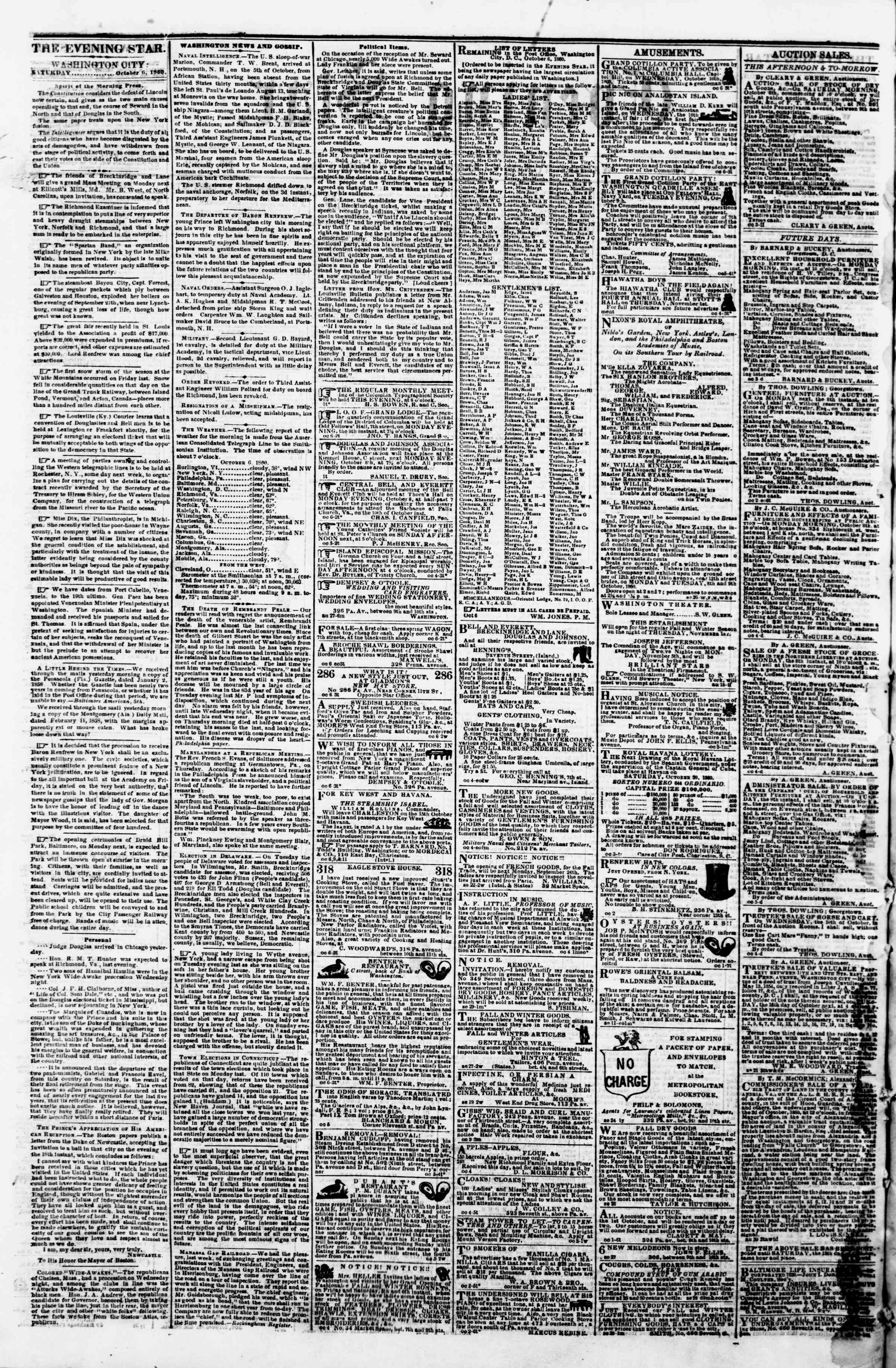 Newspaper of Evening Star dated October 6, 1860 Page 2