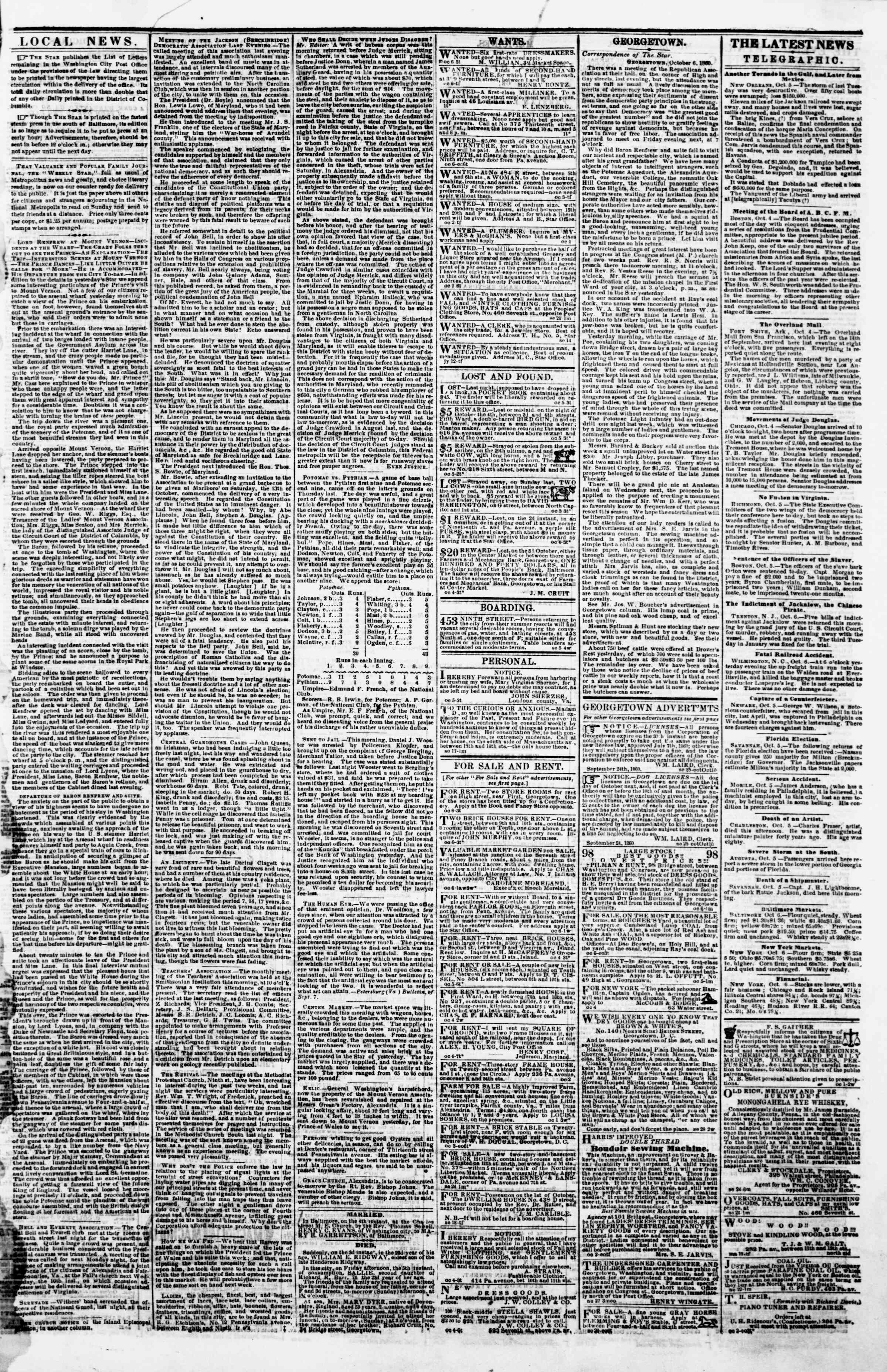Newspaper of Evening Star dated October 6, 1860 Page 3