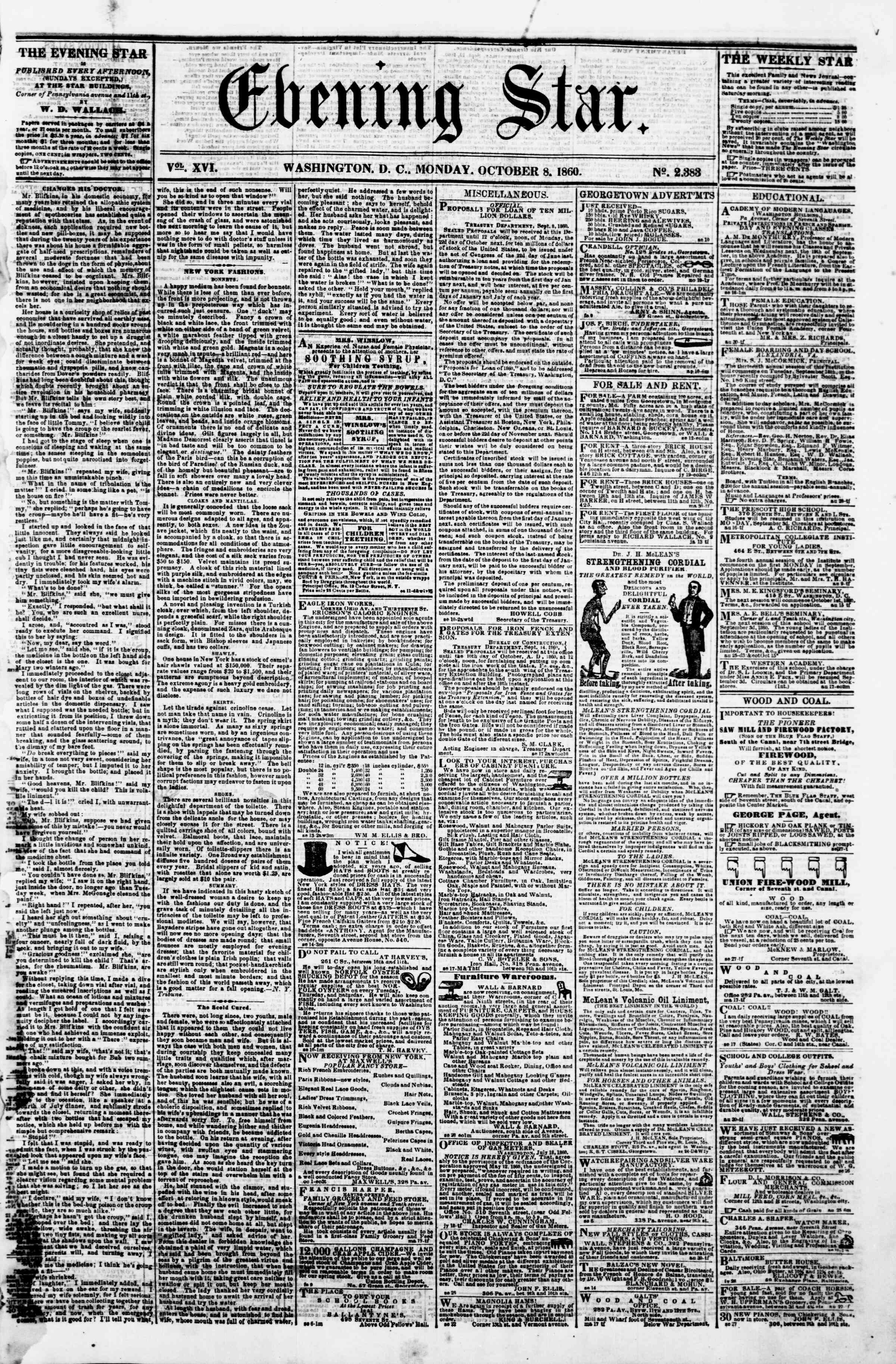 Newspaper of Evening Star dated October 8, 1860 Page 1