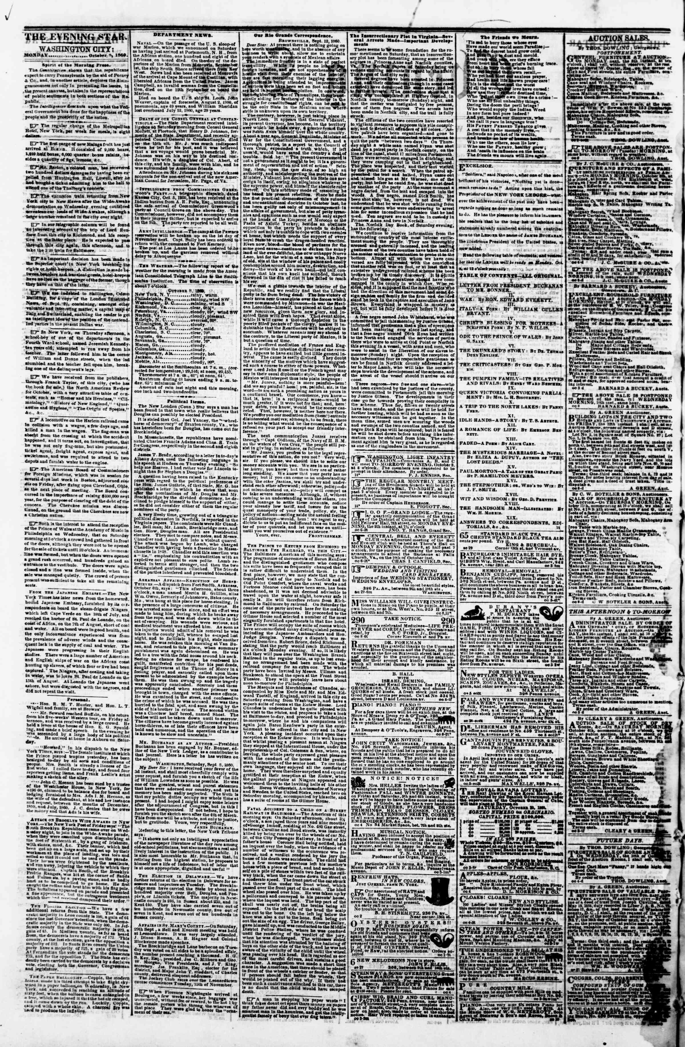 Newspaper of Evening Star dated October 8, 1860 Page 2