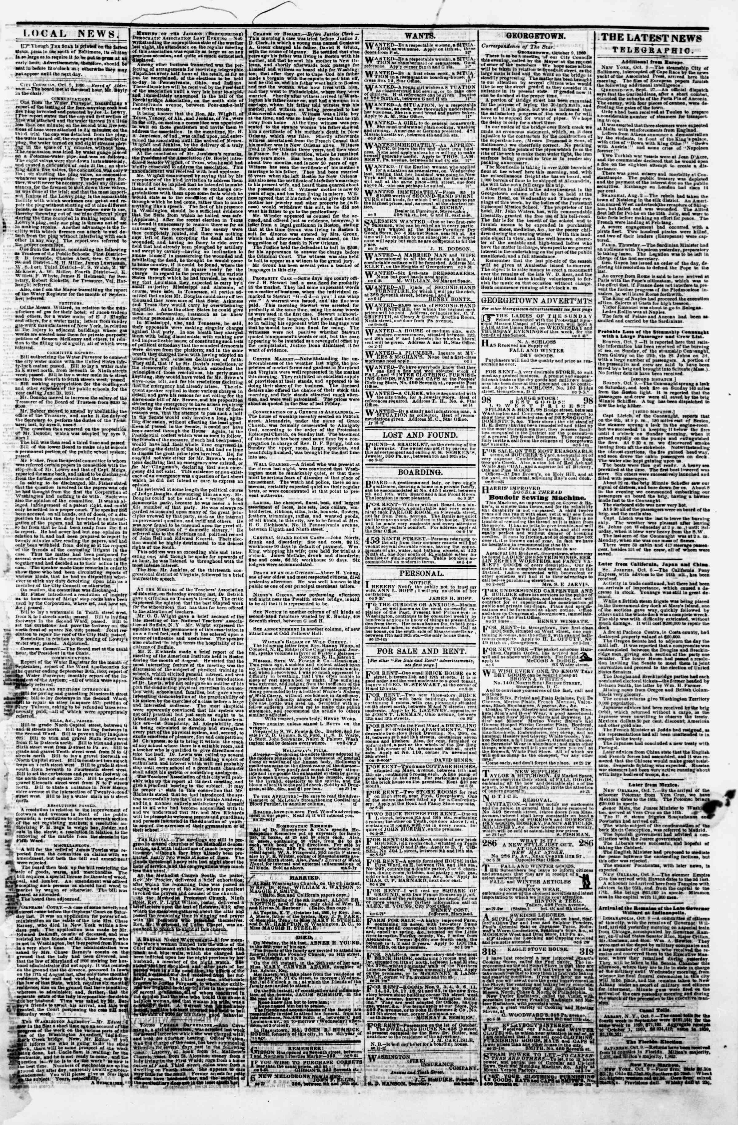 Newspaper of Evening Star dated October 9, 1860 Page 3