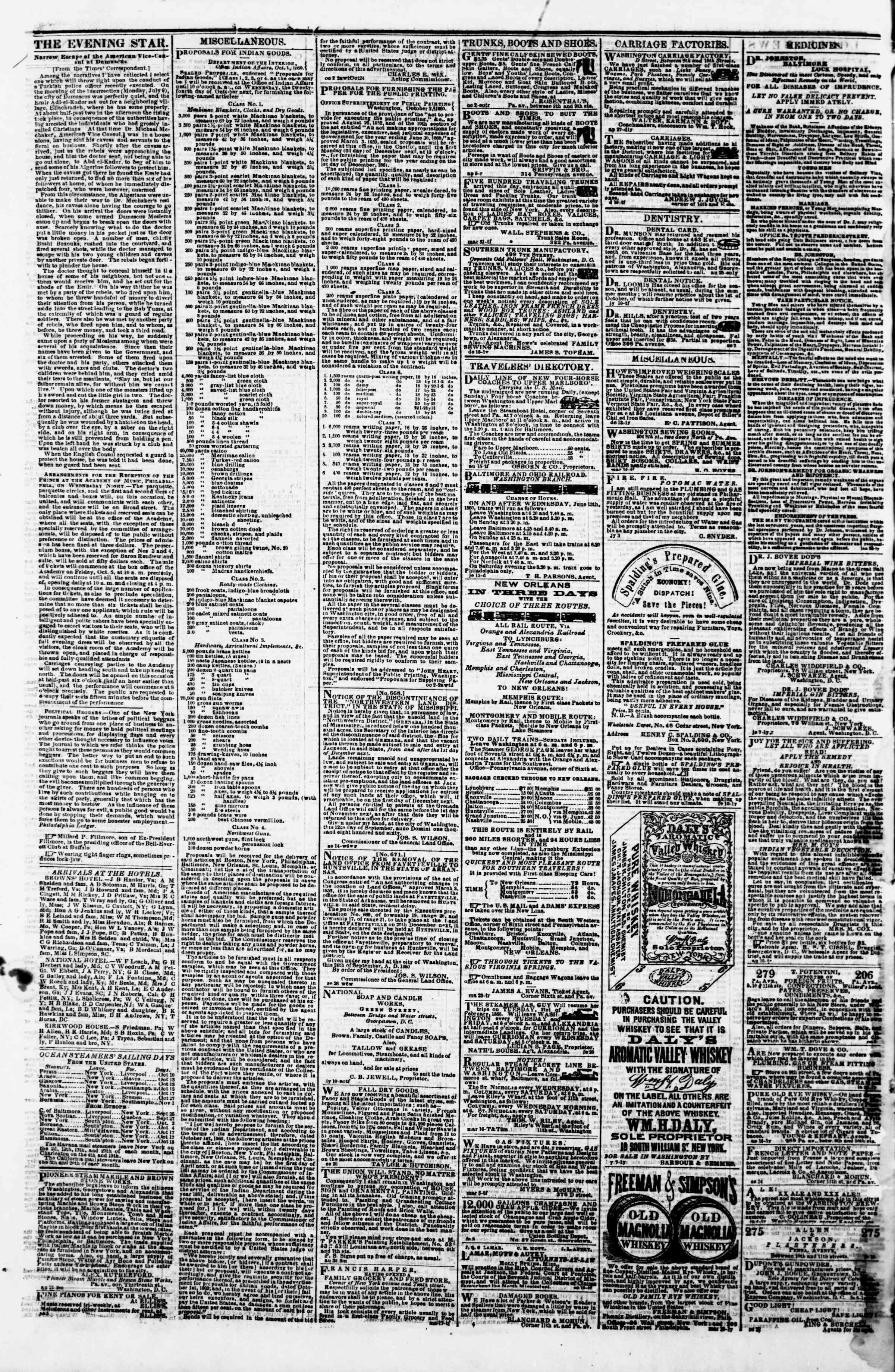October 9, 1860 tarihli Evening Star Gazetesi Sayfa 4