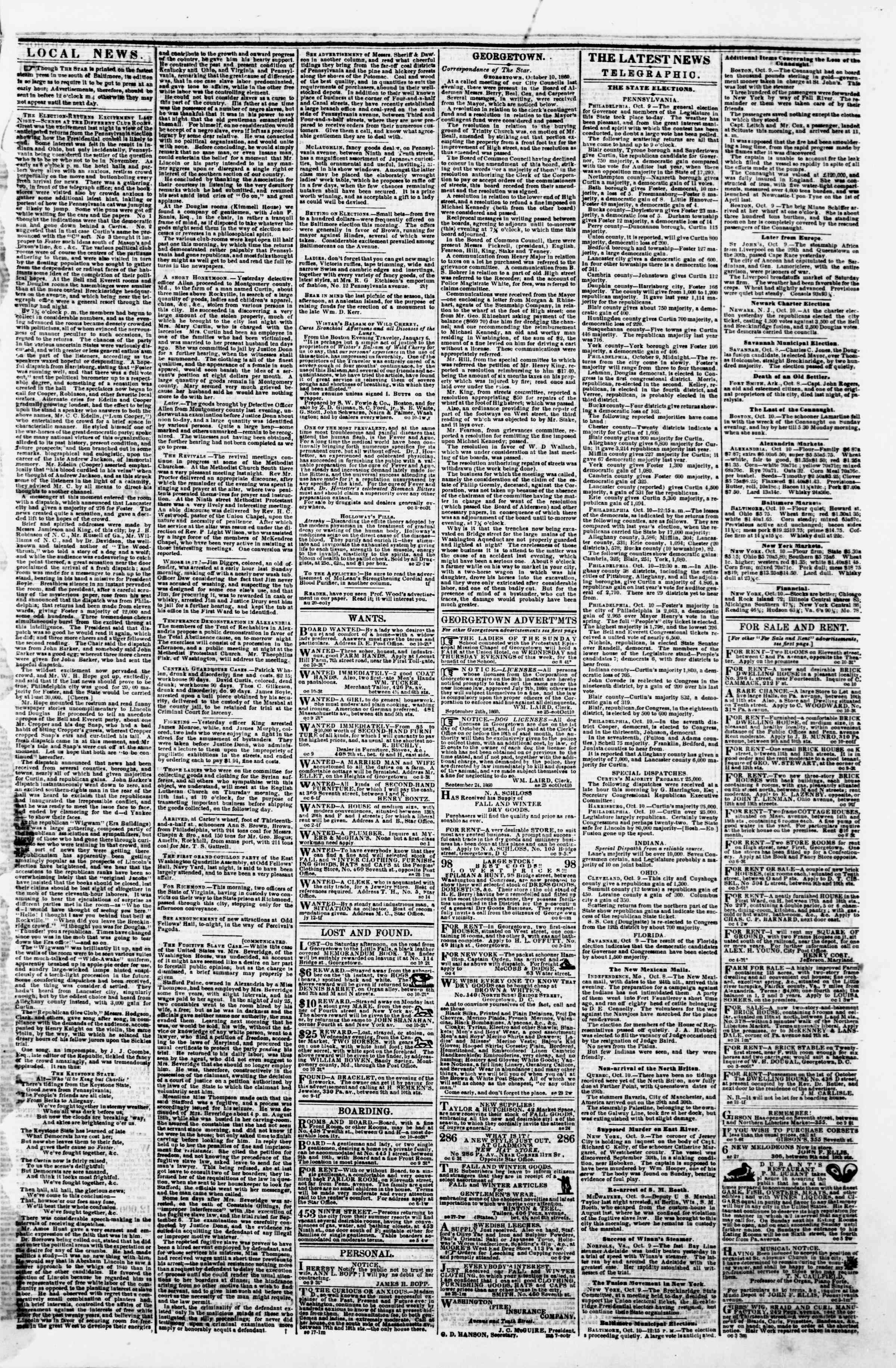 Newspaper of Evening Star dated October 10, 1860 Page 3