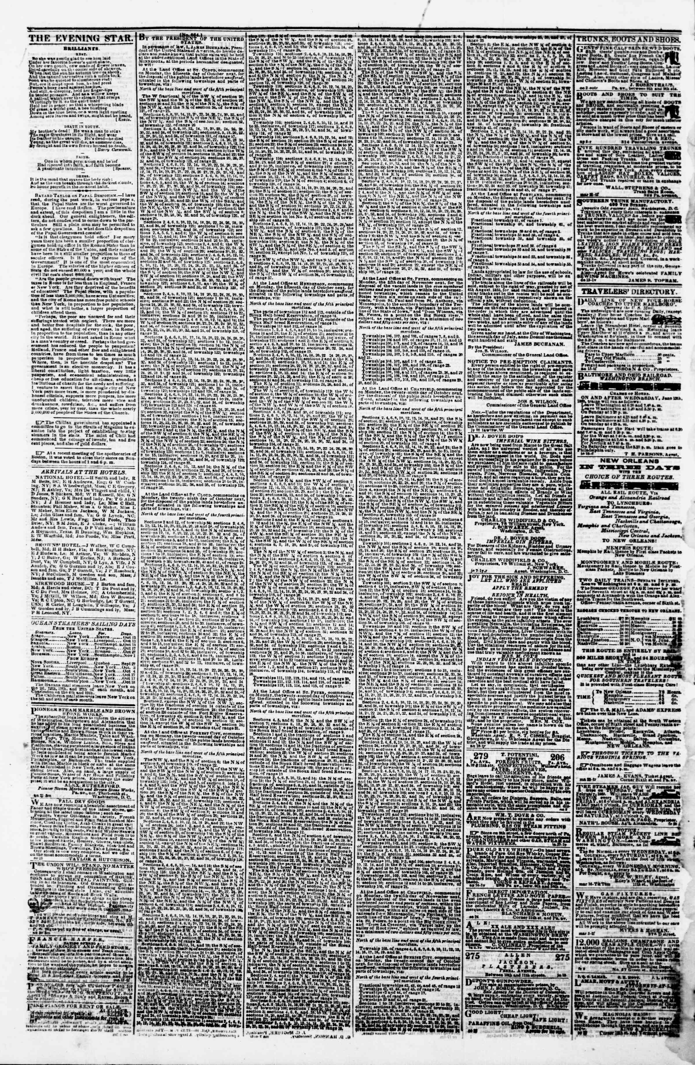 Newspaper of Evening Star dated October 10, 1860 Page 4