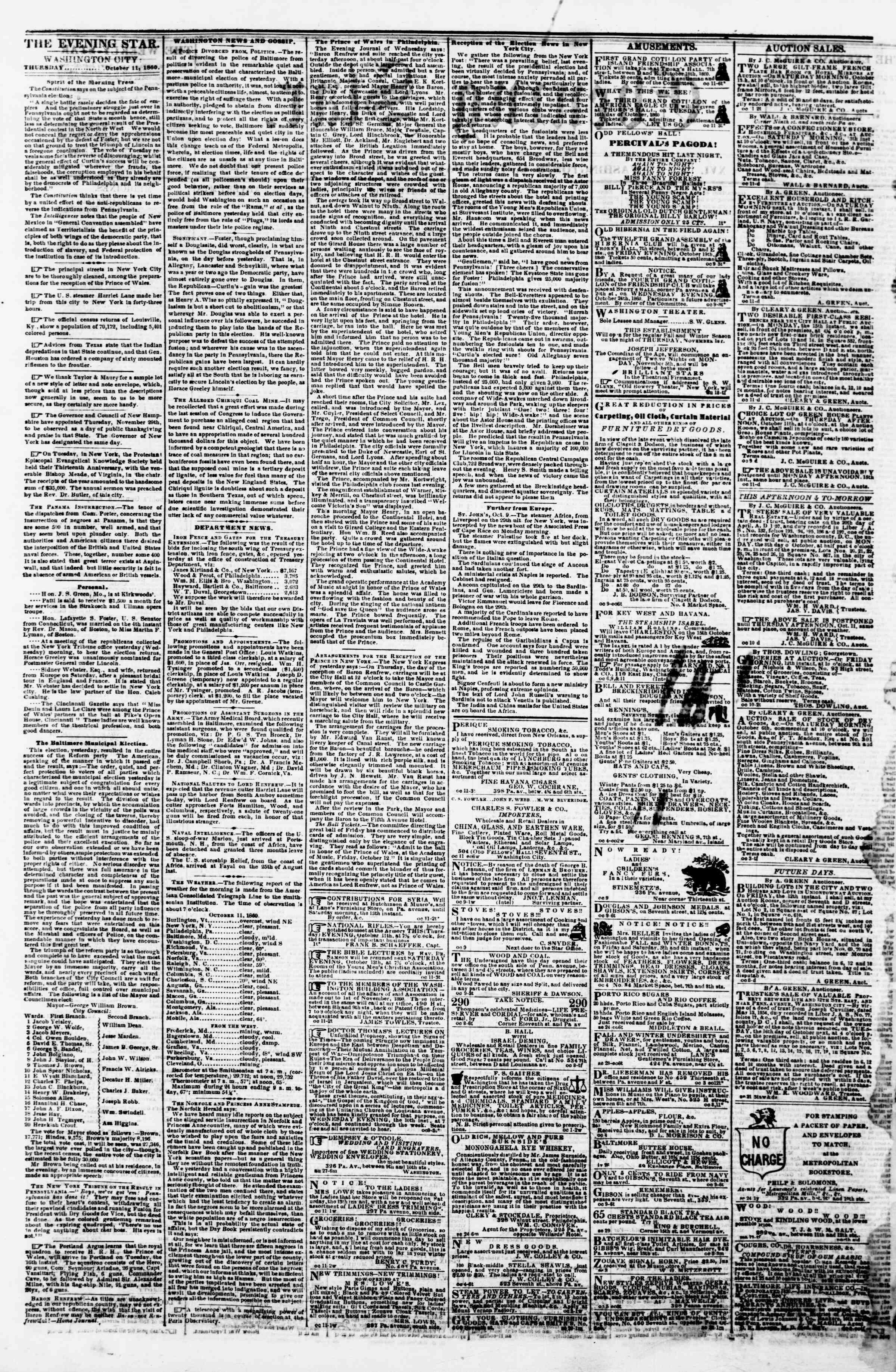 Newspaper of Evening Star dated October 11, 1860 Page 2