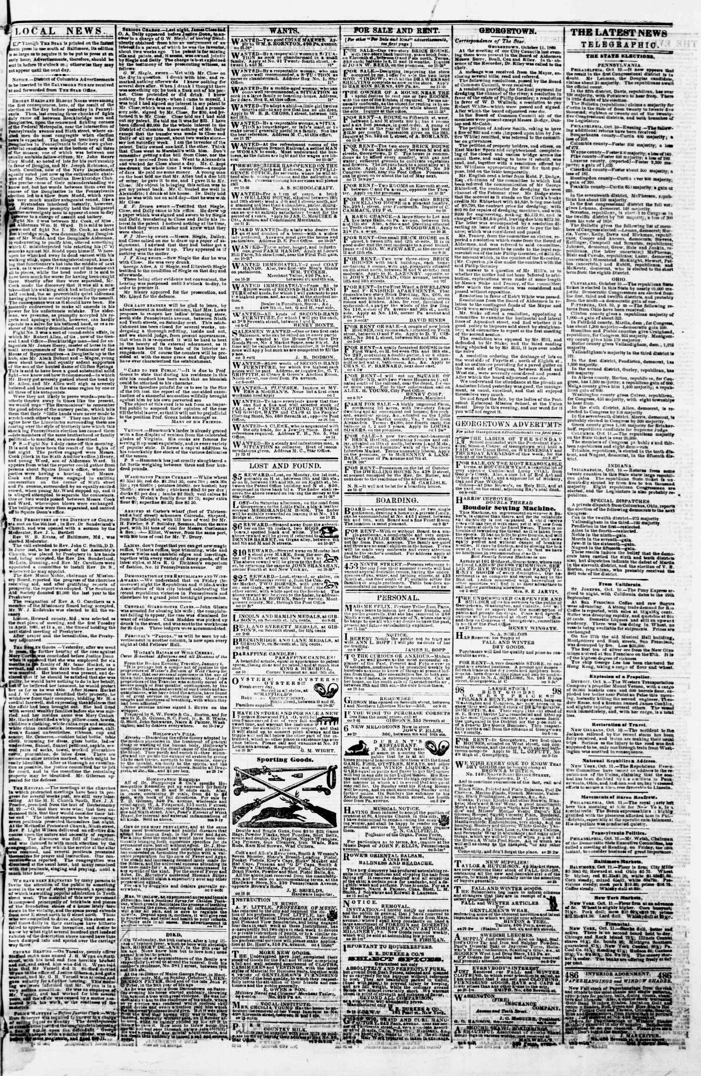 Newspaper of Evening Star dated October 11, 1860 Page 3