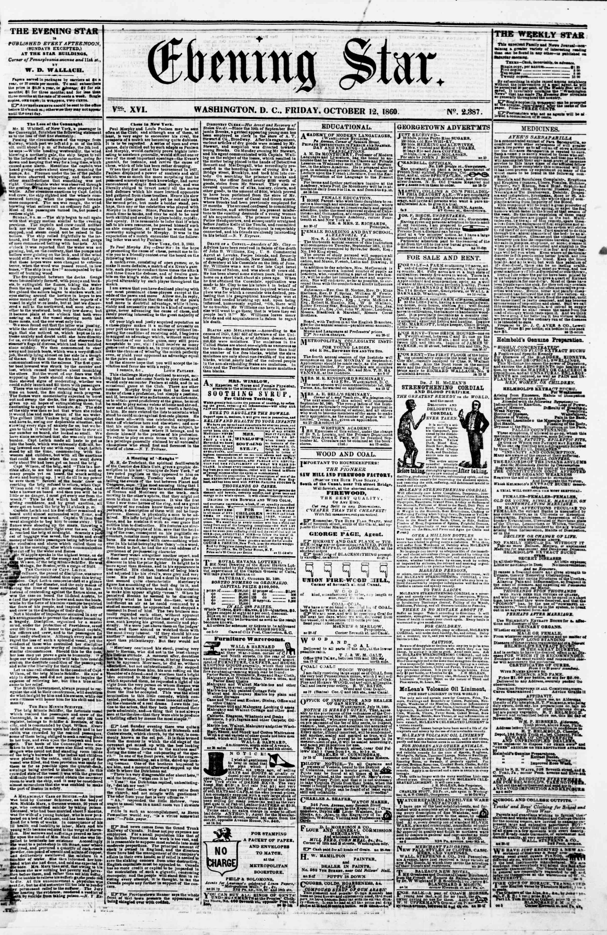 Newspaper of Evening Star dated October 12, 1860 Page 1