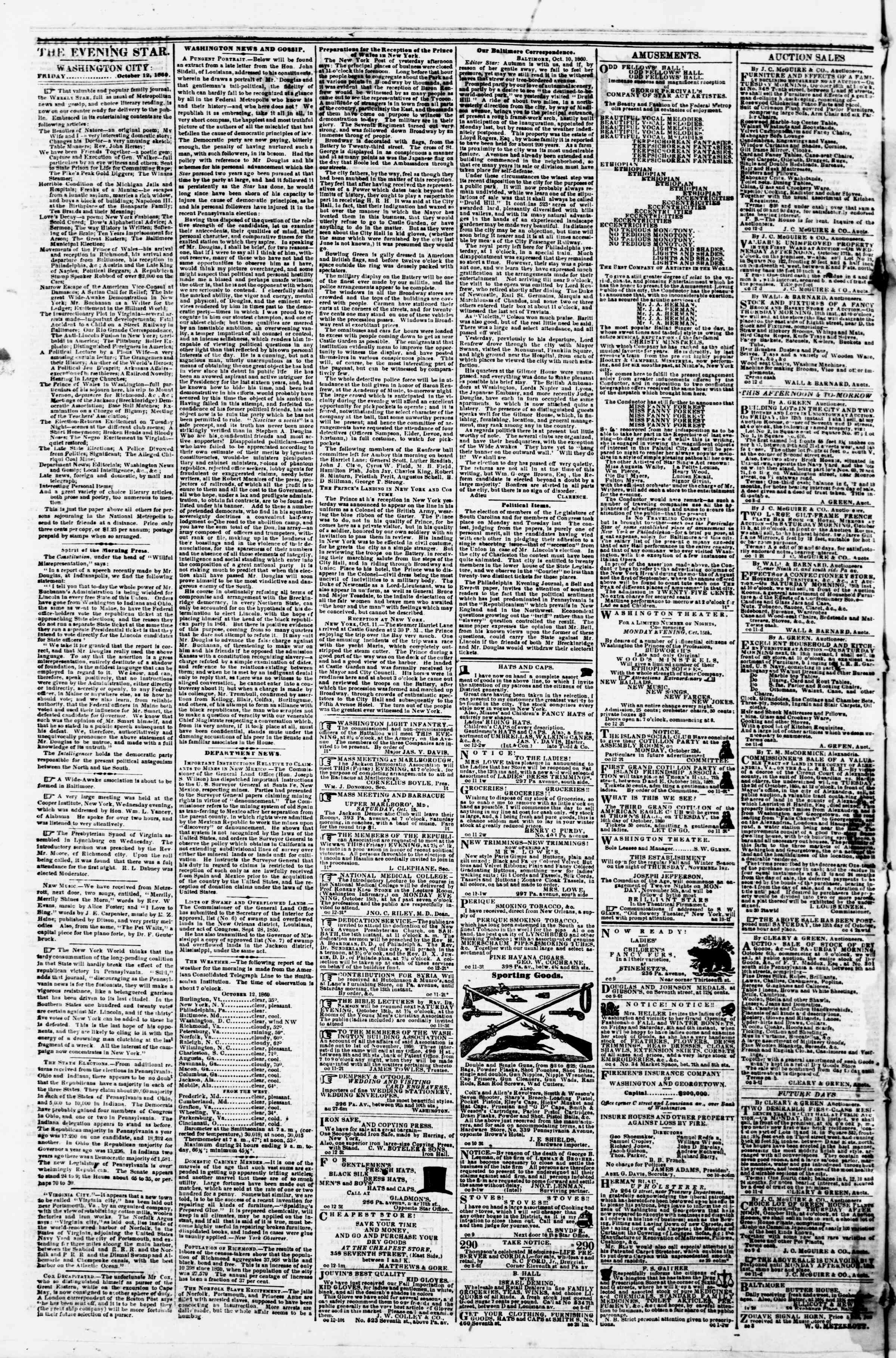 Newspaper of Evening Star dated 12 Ekim 1860 Page 2