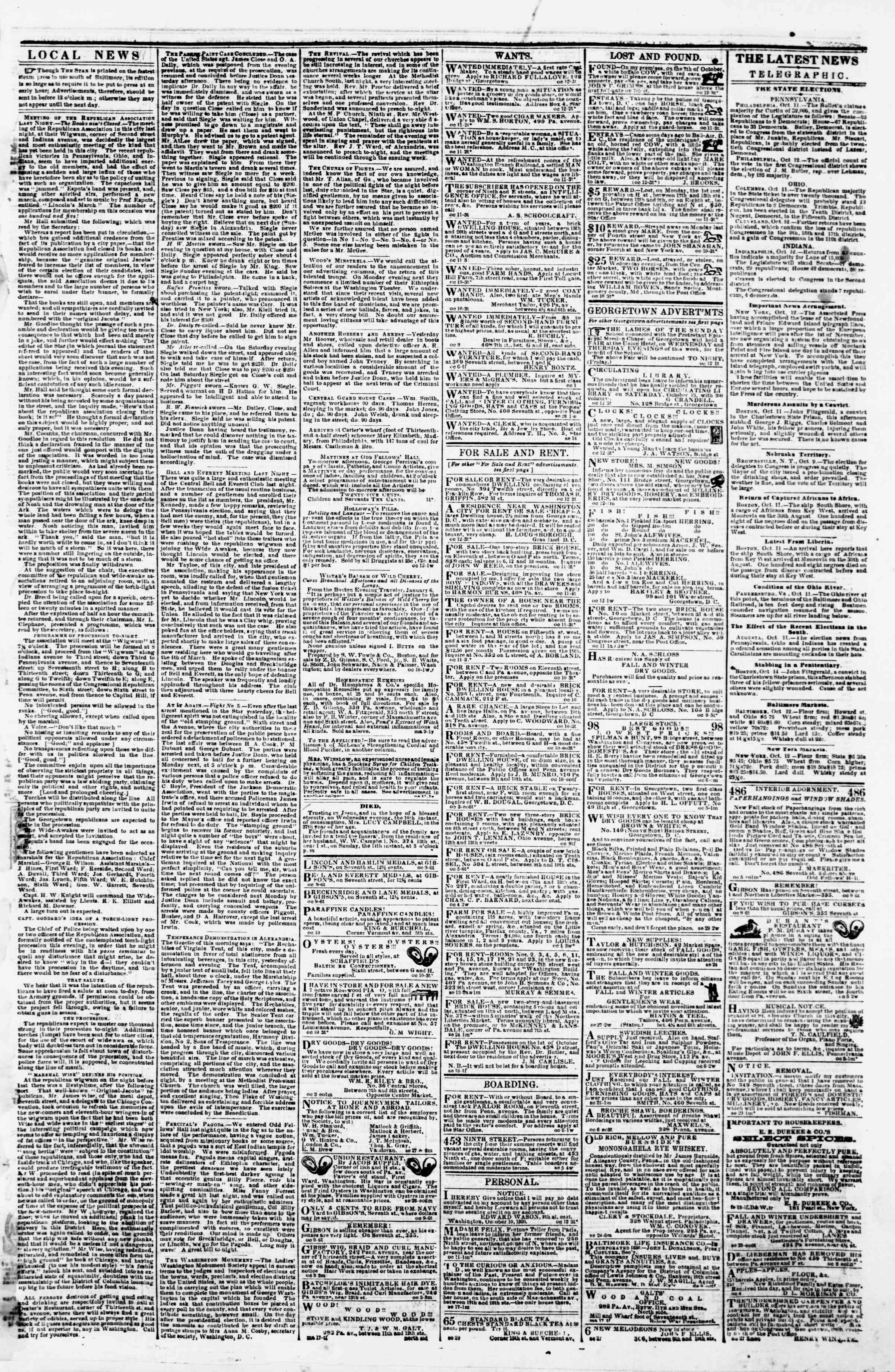 Newspaper of Evening Star dated October 12, 1860 Page 3