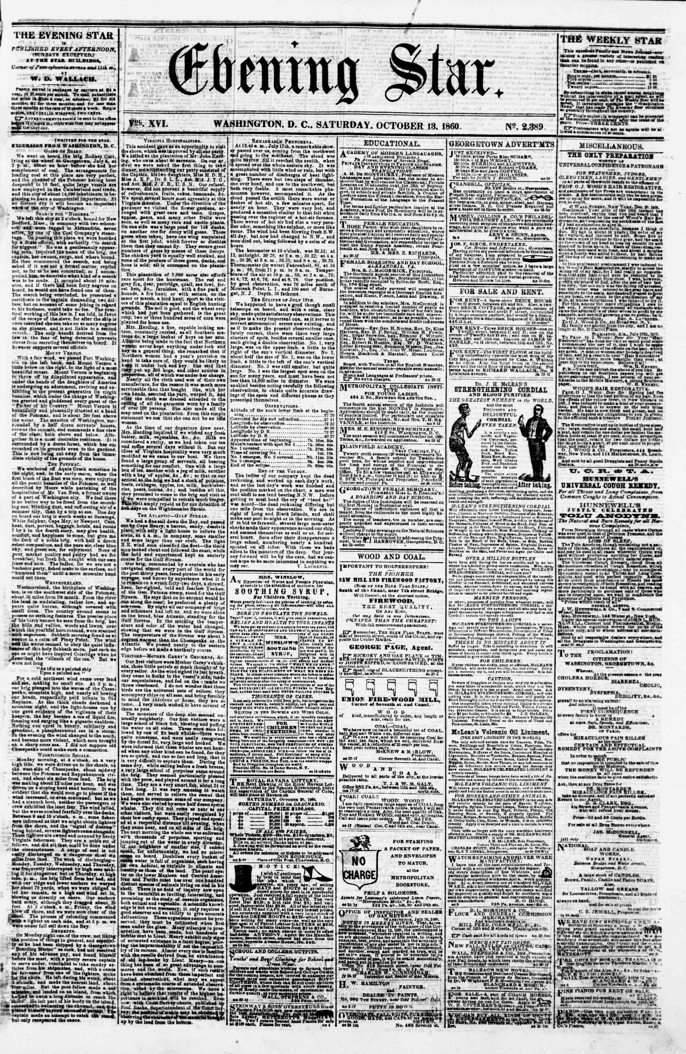 Newspaper of Evening Star dated October 13, 1860 Page 1