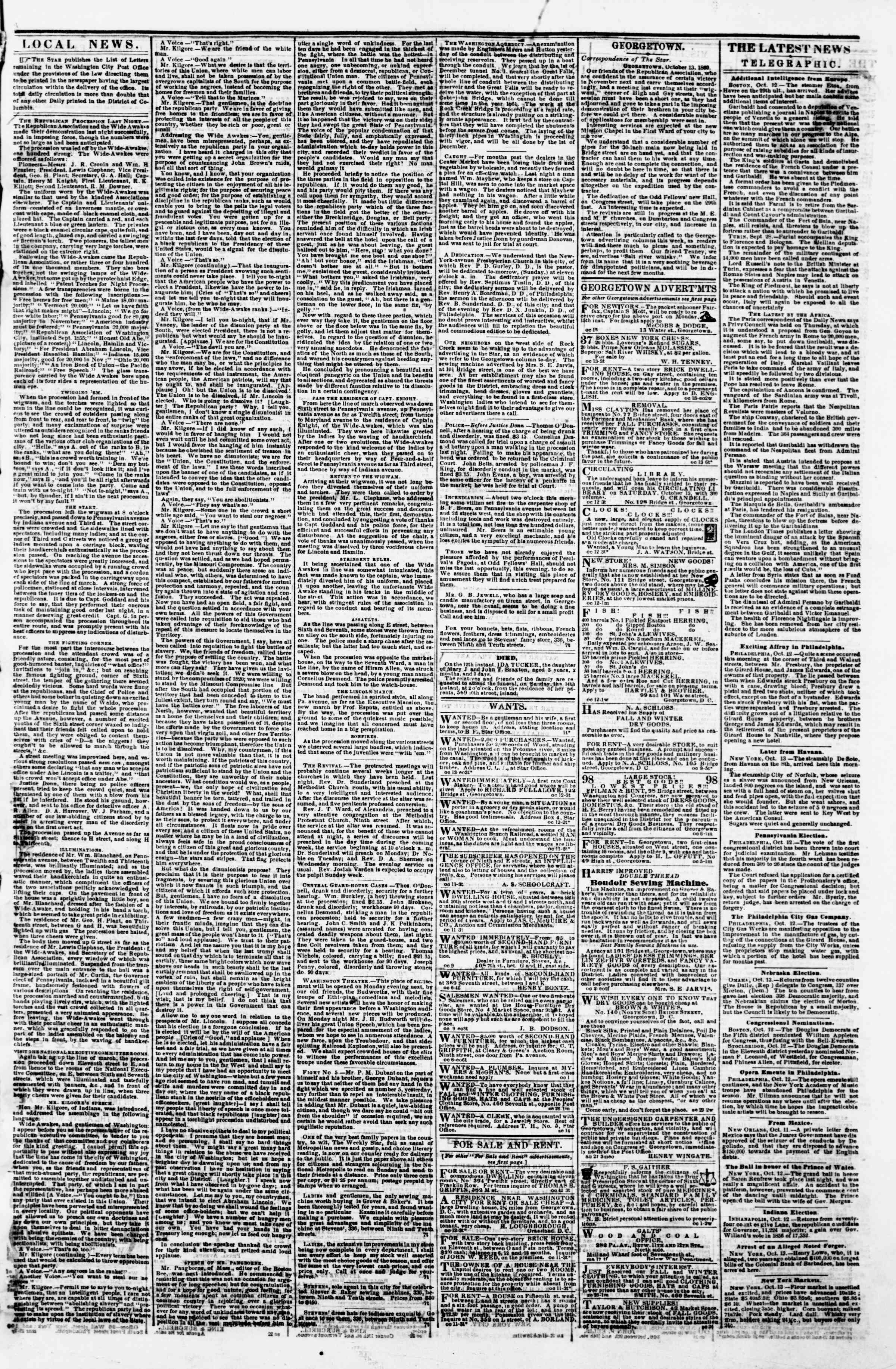 Newspaper of Evening Star dated October 13, 1860 Page 3
