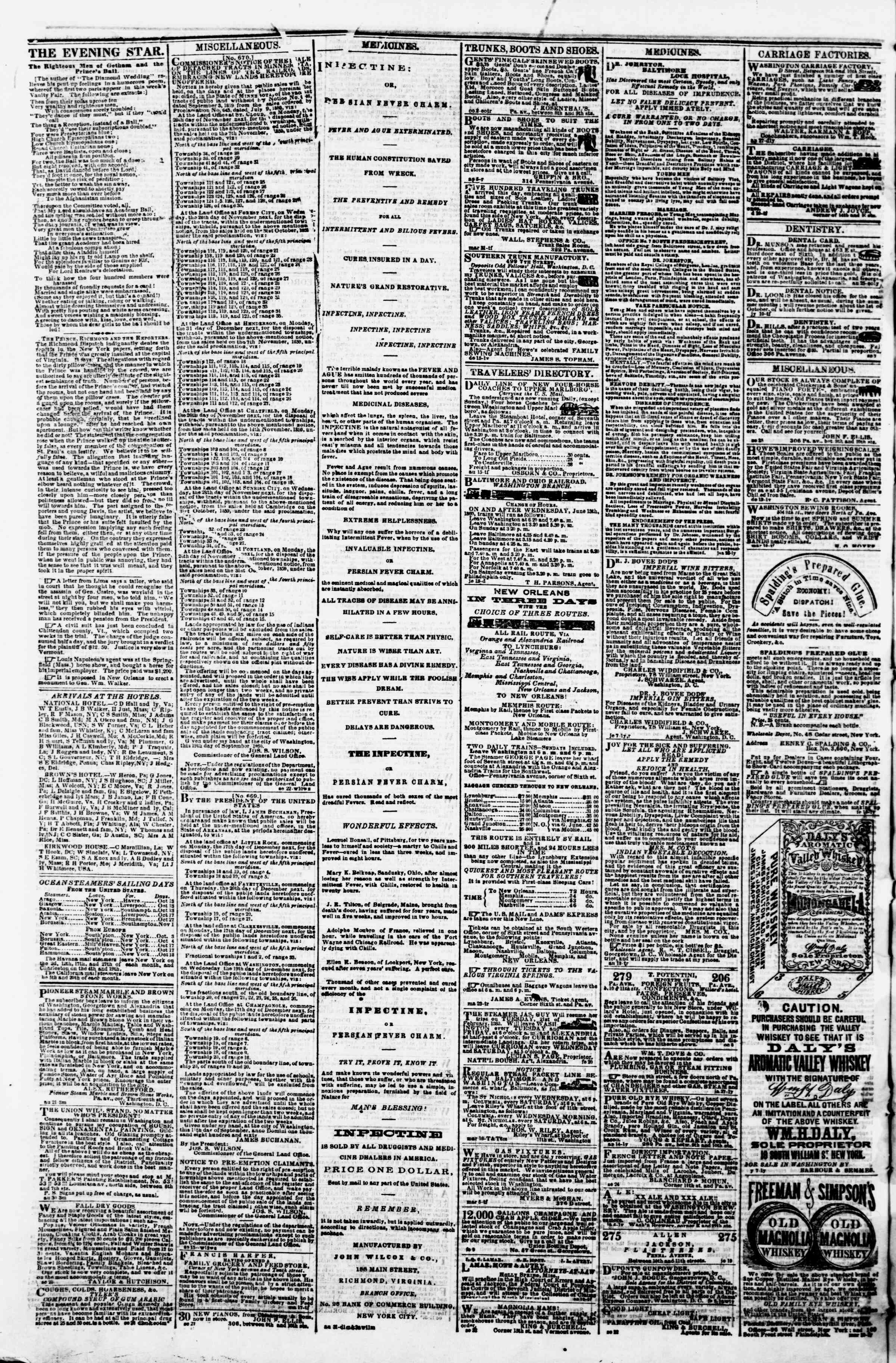 Newspaper of Evening Star dated October 13, 1860 Page 4