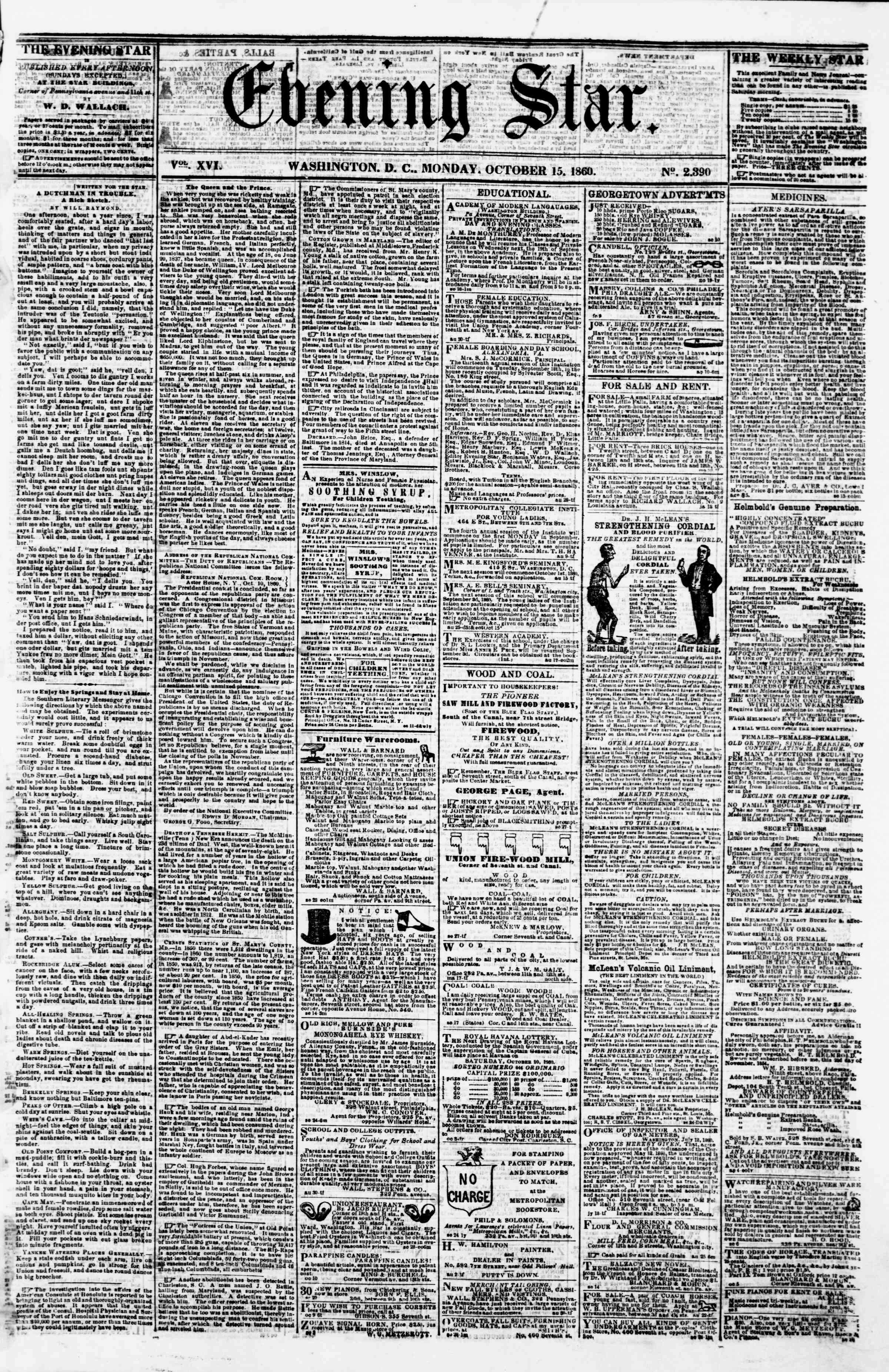 Newspaper of Evening Star dated October 15, 1860 Page 1