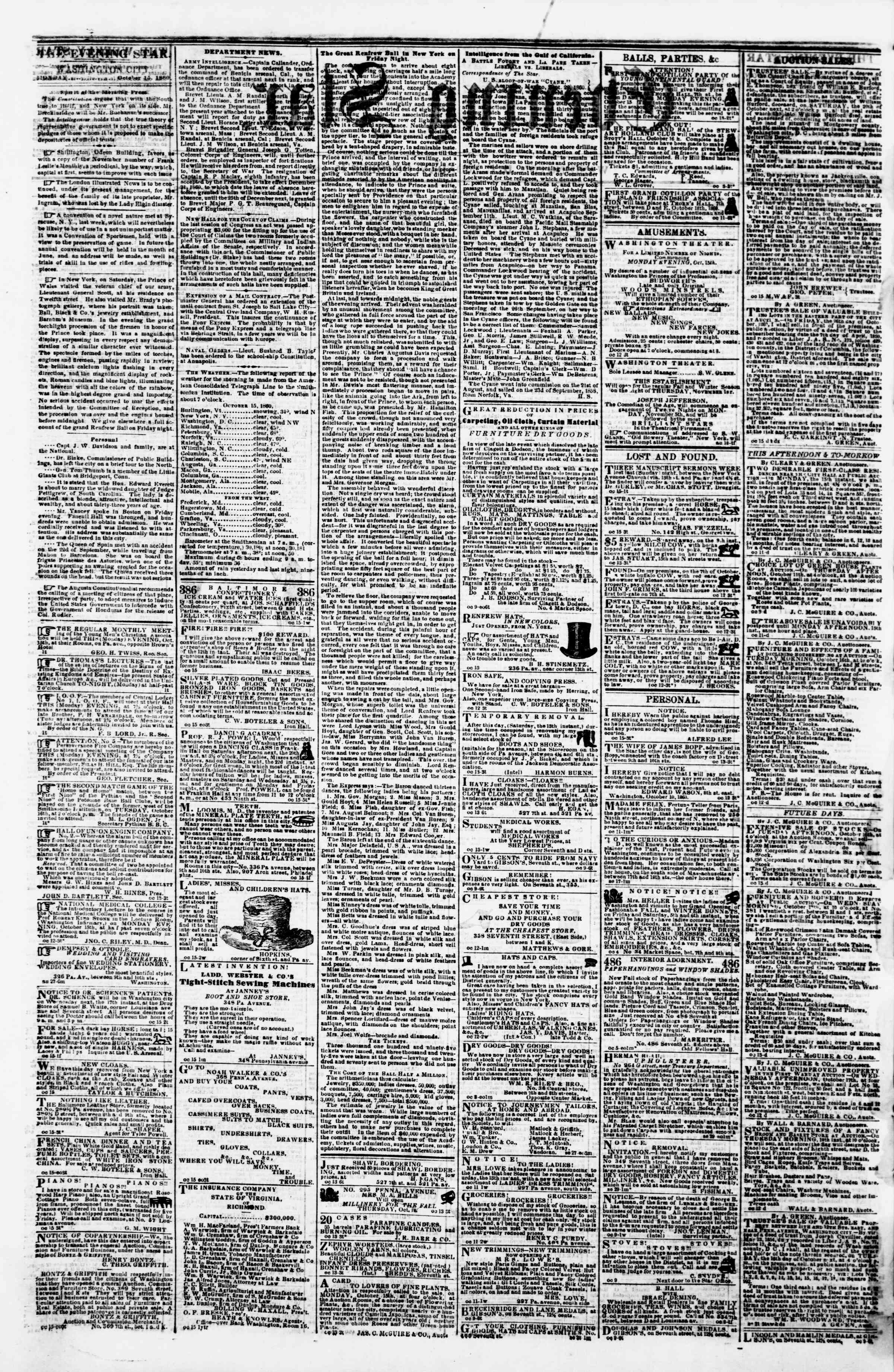 Newspaper of Evening Star dated October 15, 1860 Page 2