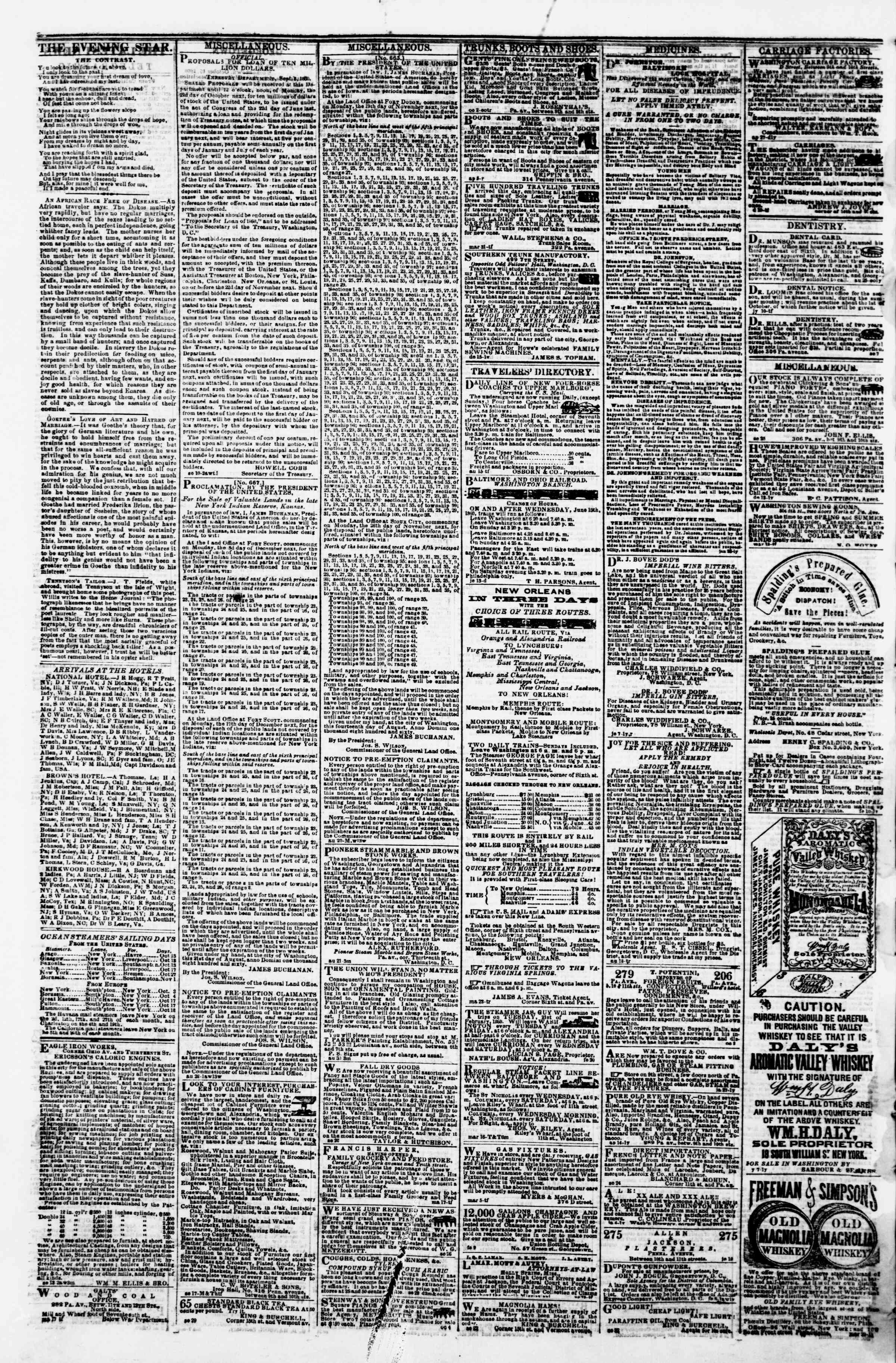 Newspaper of Evening Star dated October 15, 1860 Page 4