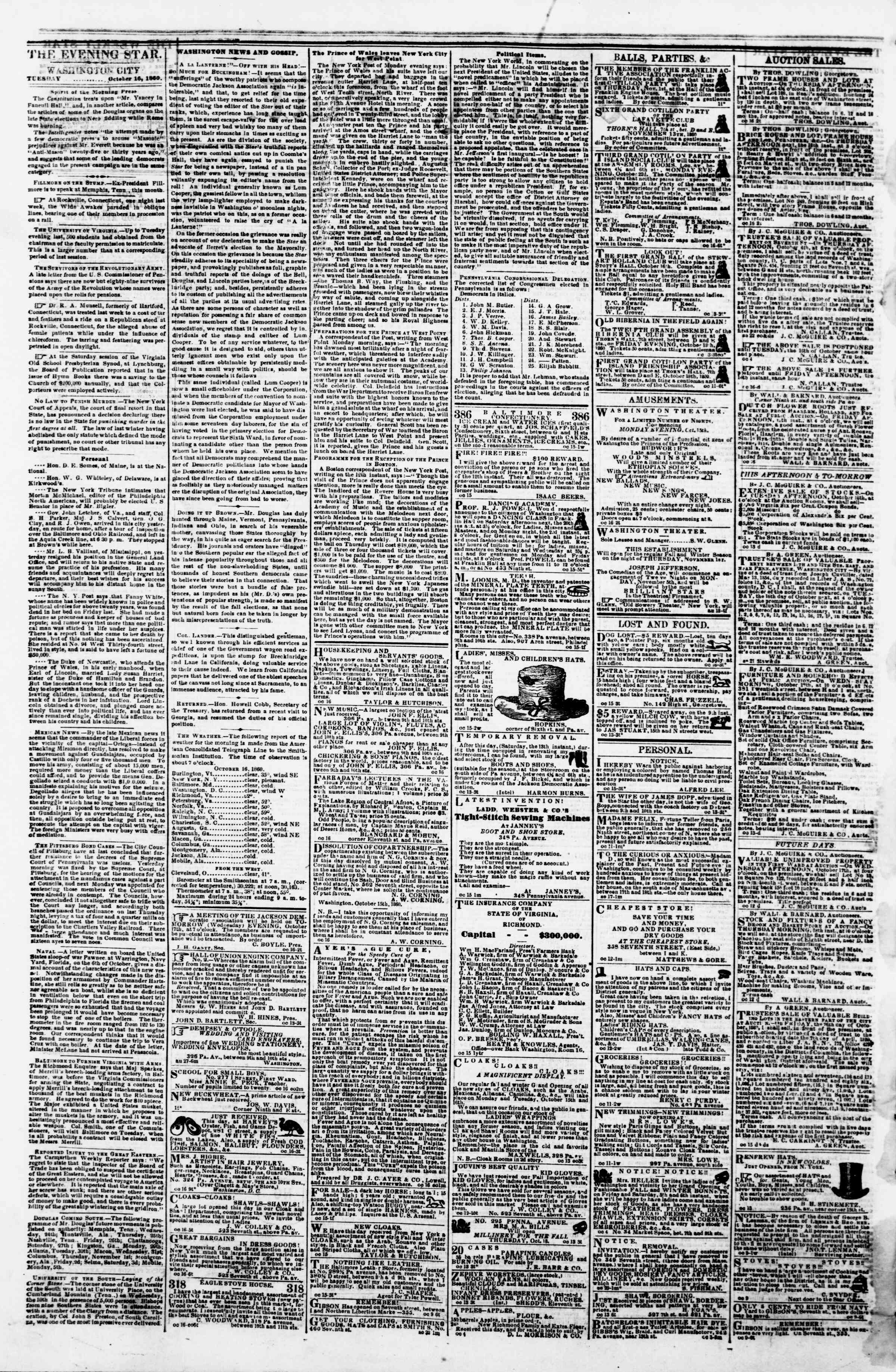Newspaper of Evening Star dated October 16, 1860 Page 2