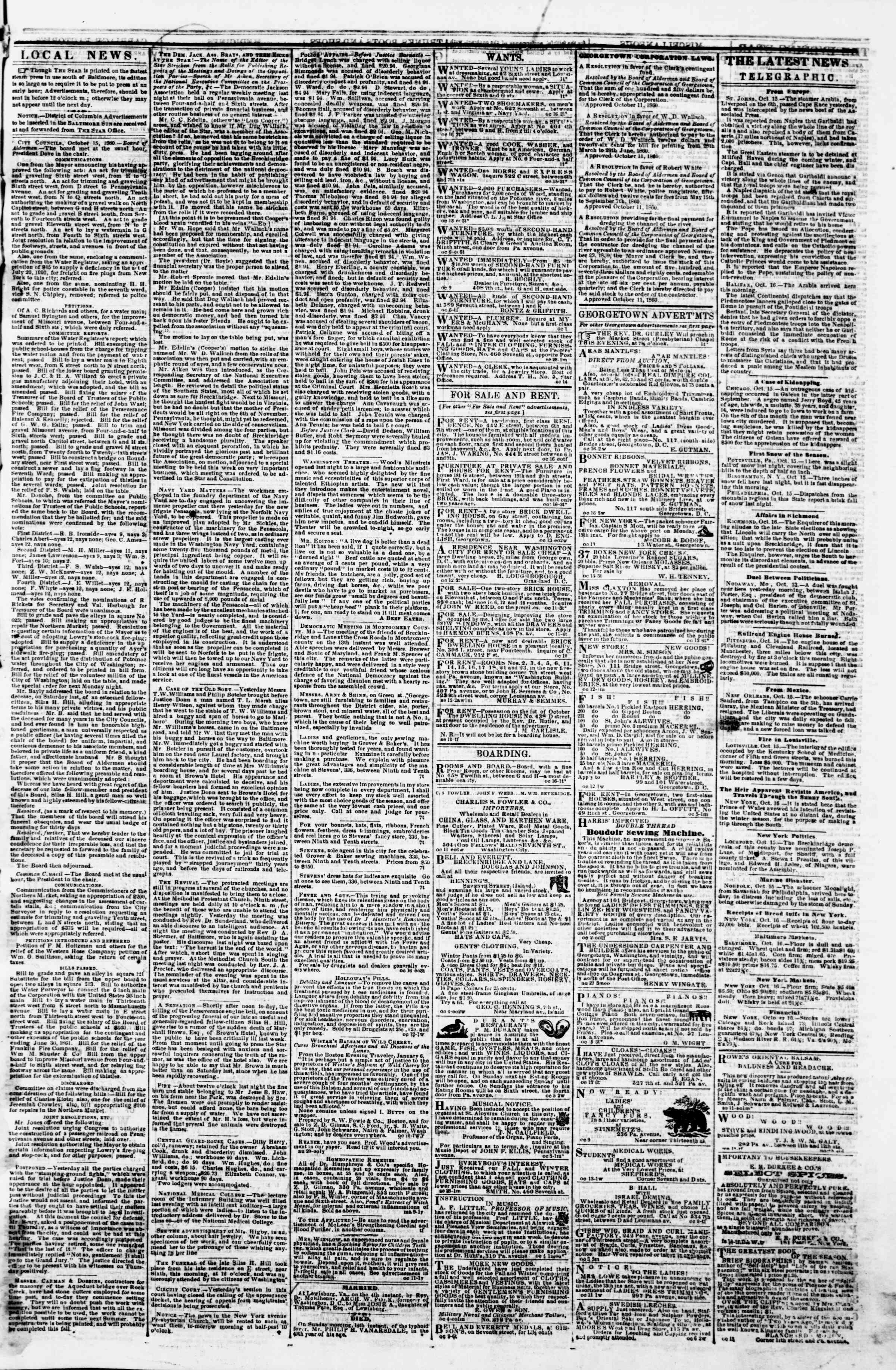 Newspaper of Evening Star dated October 16, 1860 Page 3