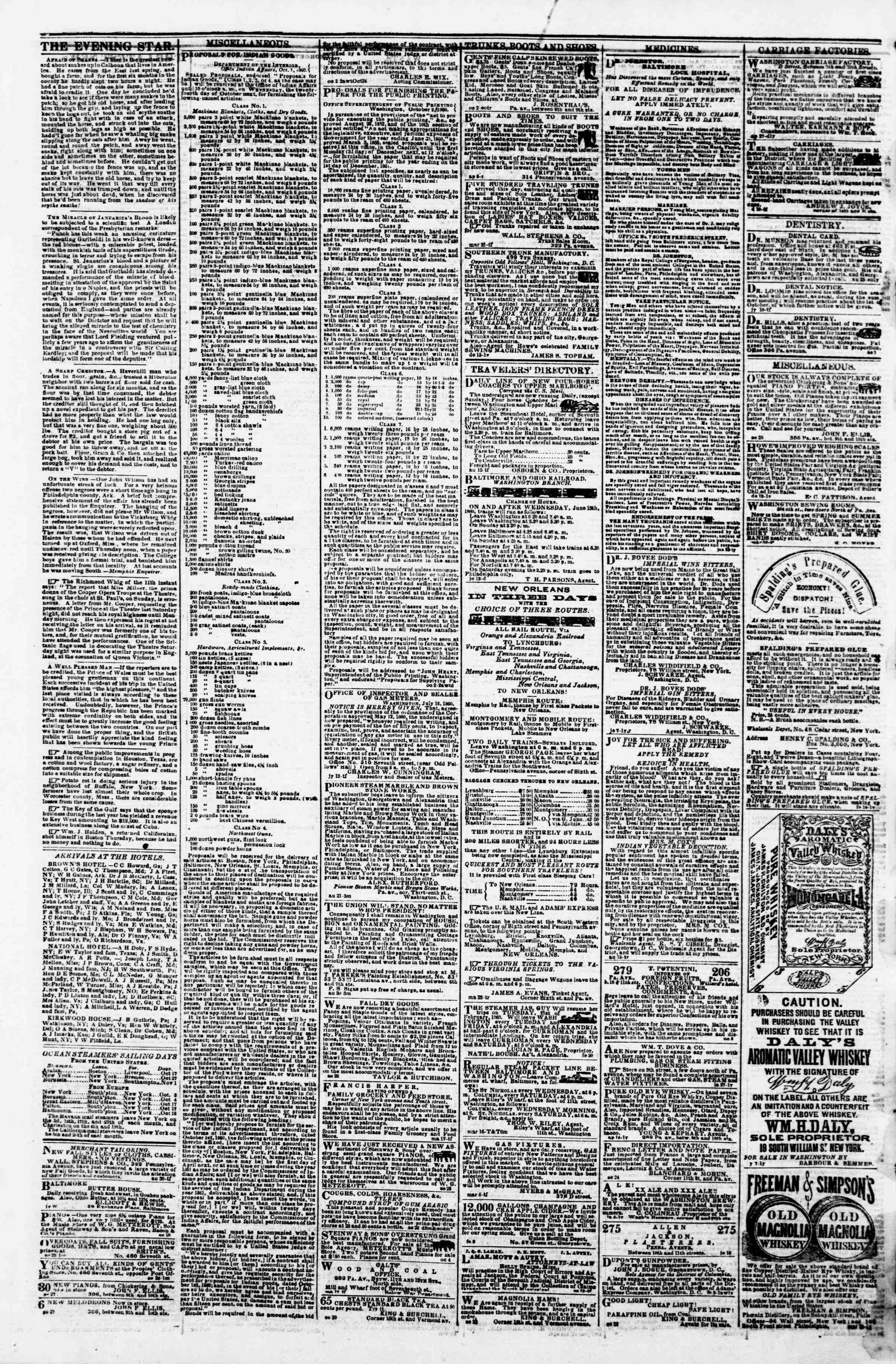 Newspaper of Evening Star dated October 16, 1860 Page 4