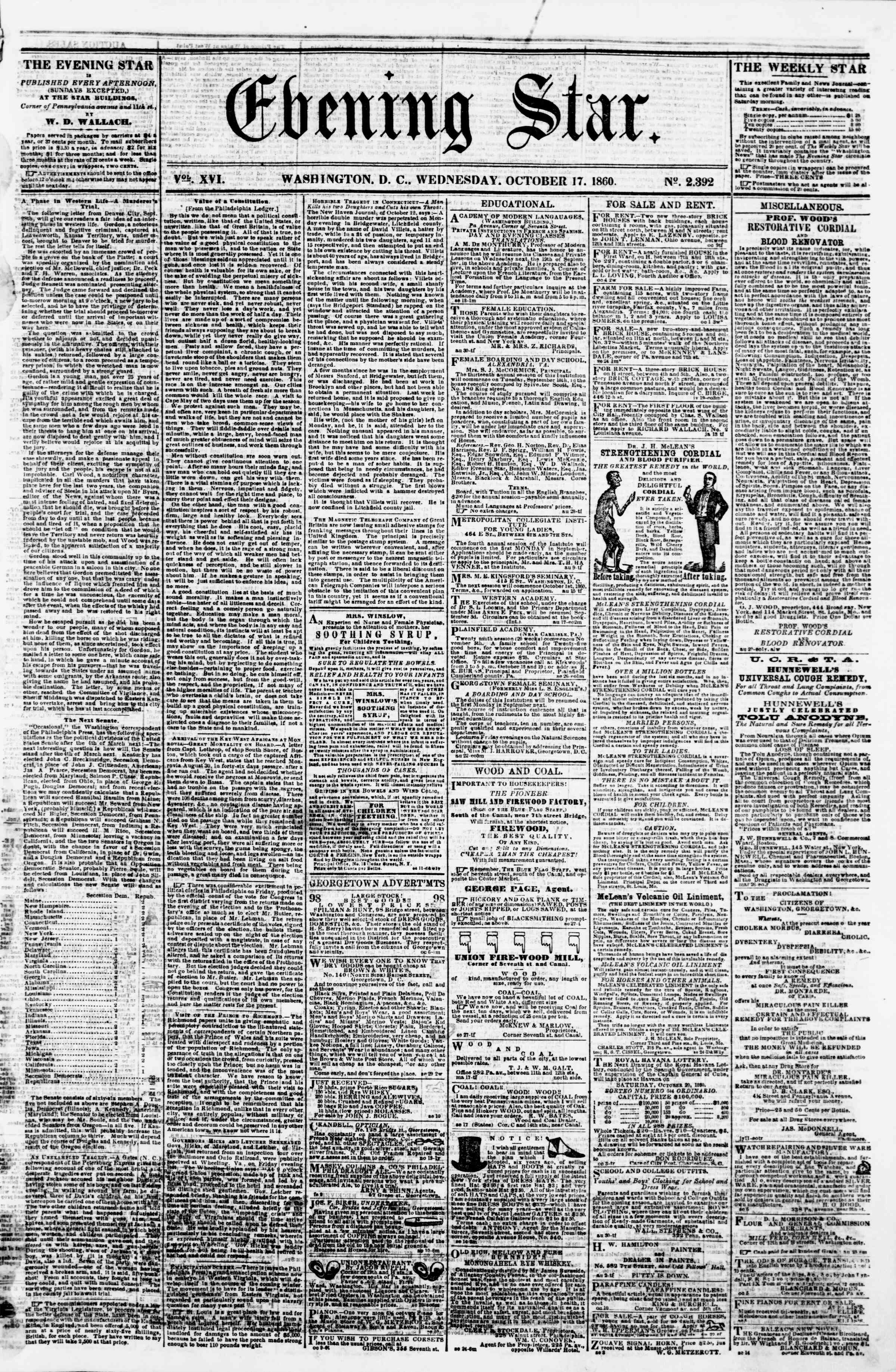 Newspaper of Evening Star dated October 17, 1860 Page 1