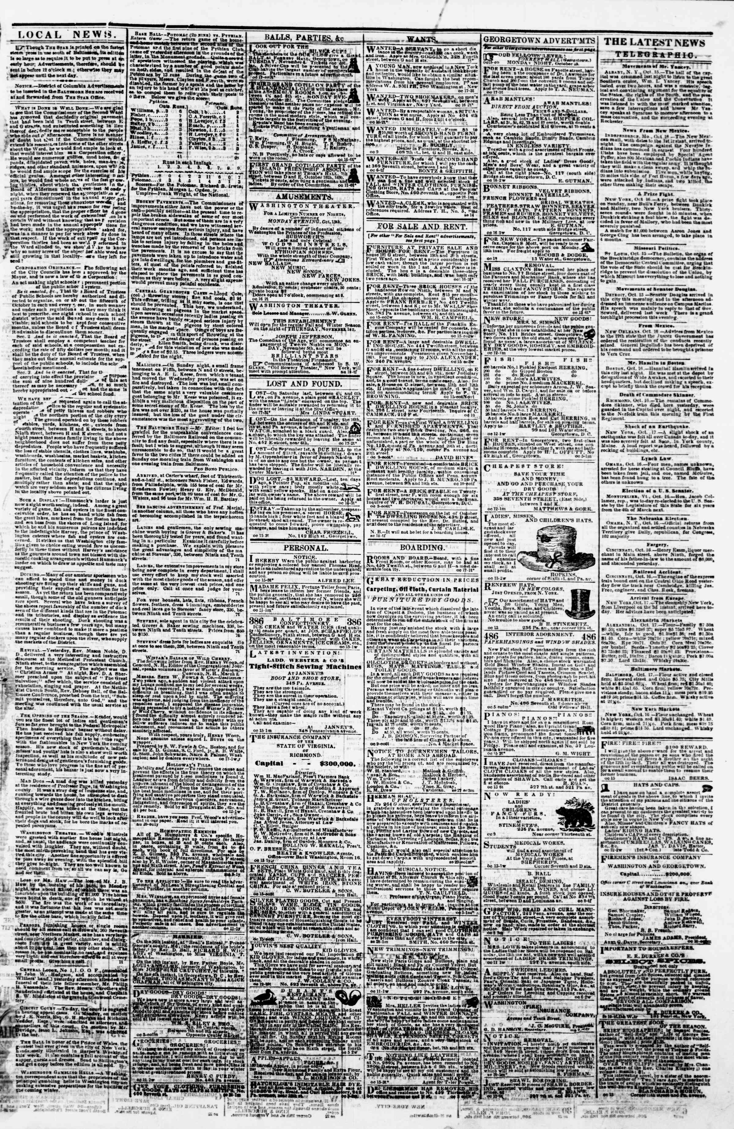Newspaper of Evening Star dated October 17, 1860 Page 3