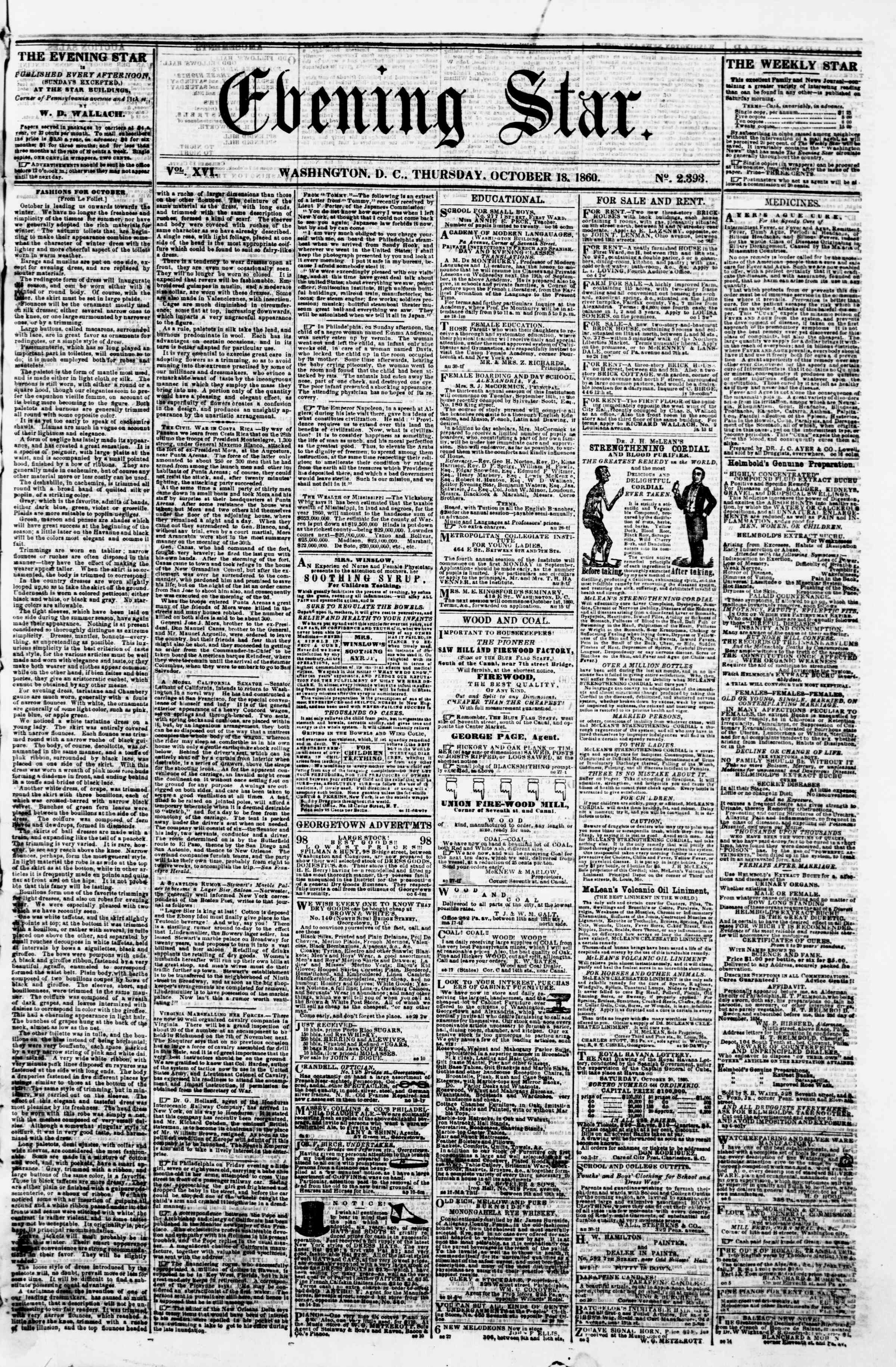 Newspaper of Evening Star dated October 18, 1860 Page 1