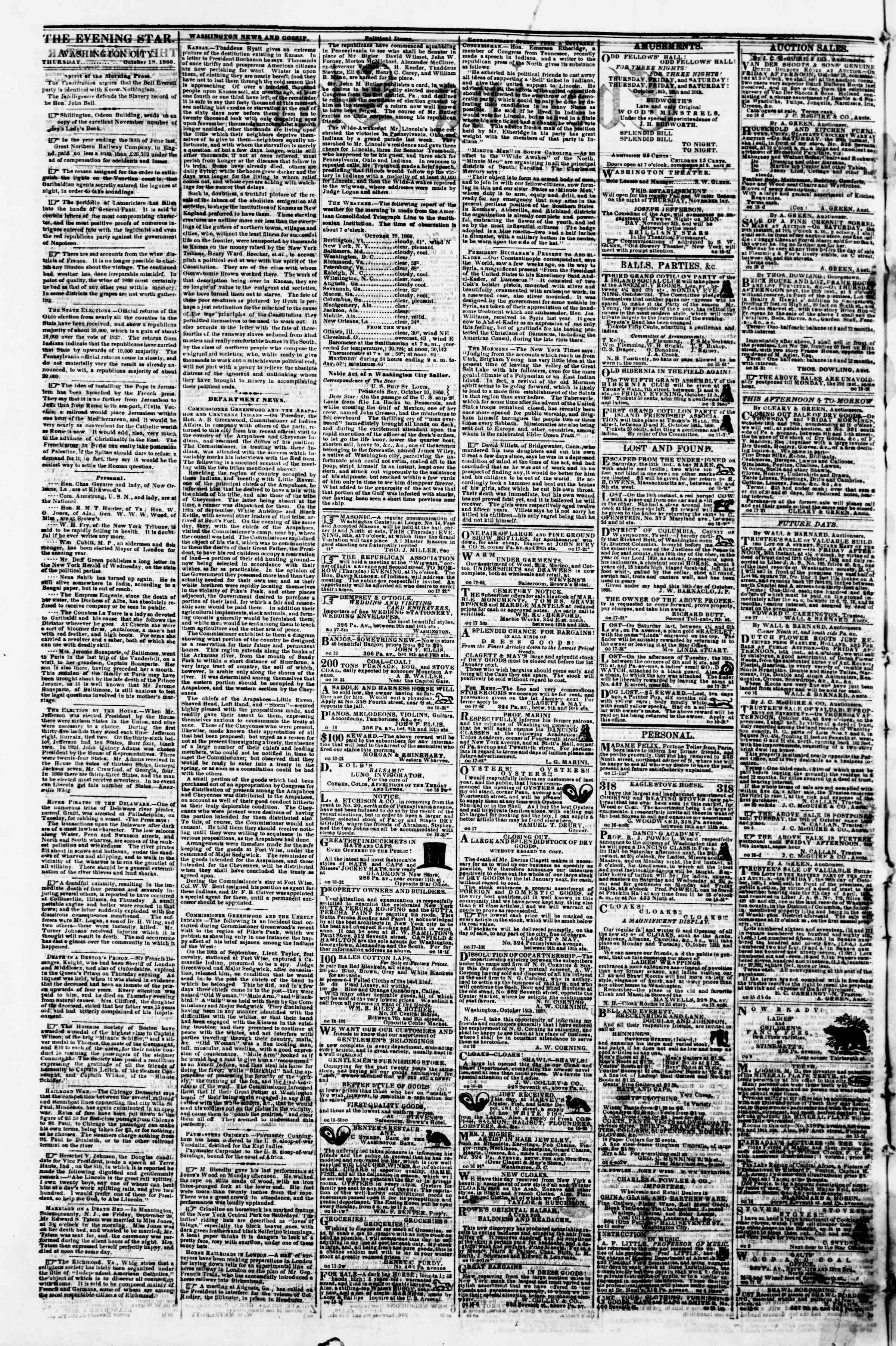 Newspaper of Evening Star dated October 18, 1860 Page 2