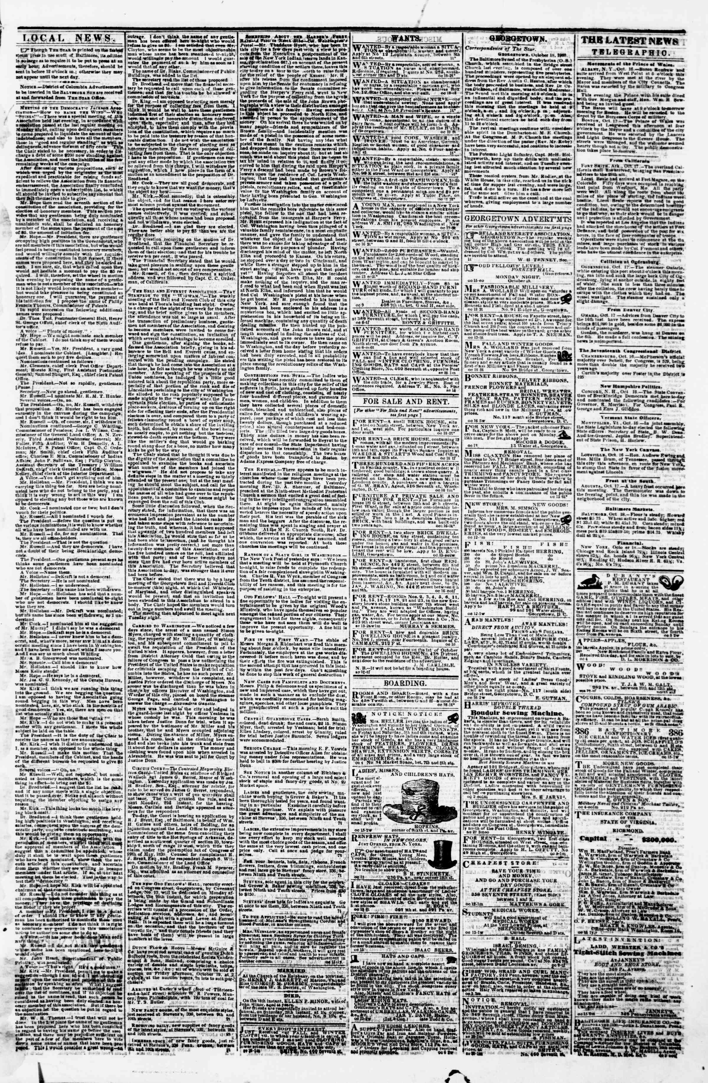 Newspaper of Evening Star dated October 18, 1860 Page 3