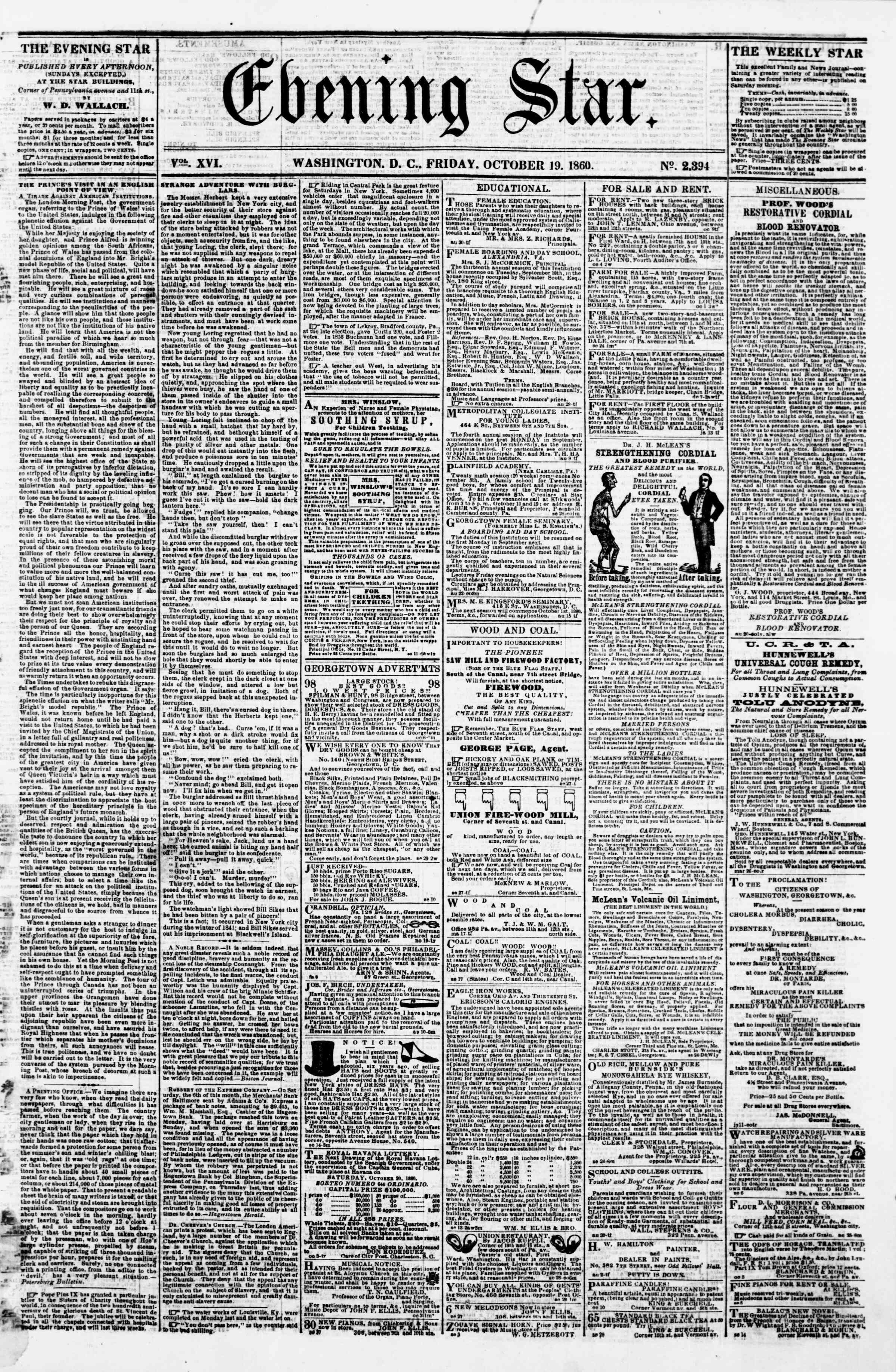 Newspaper of Evening Star dated October 19, 1860 Page 1
