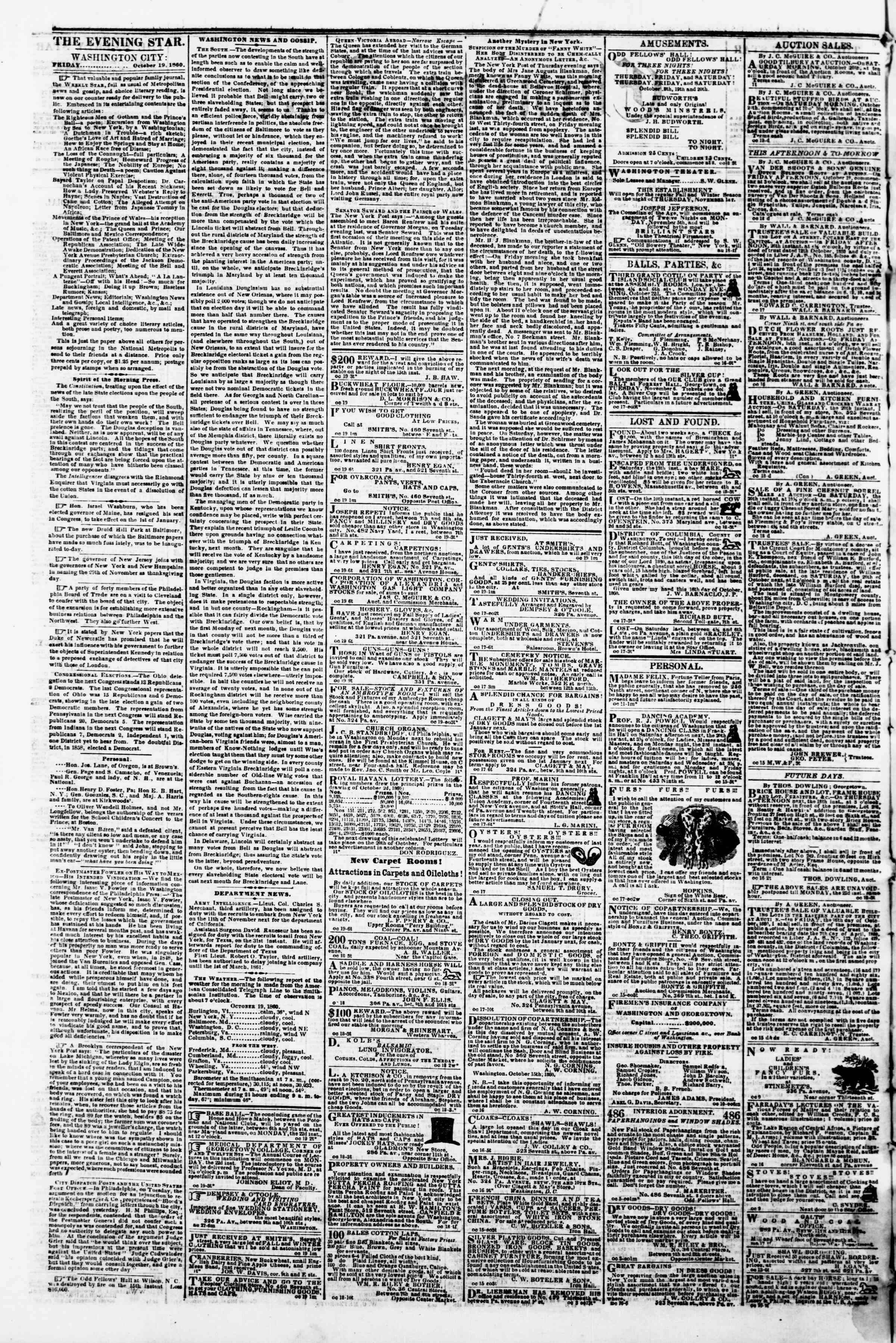 Newspaper of Evening Star dated October 19, 1860 Page 2