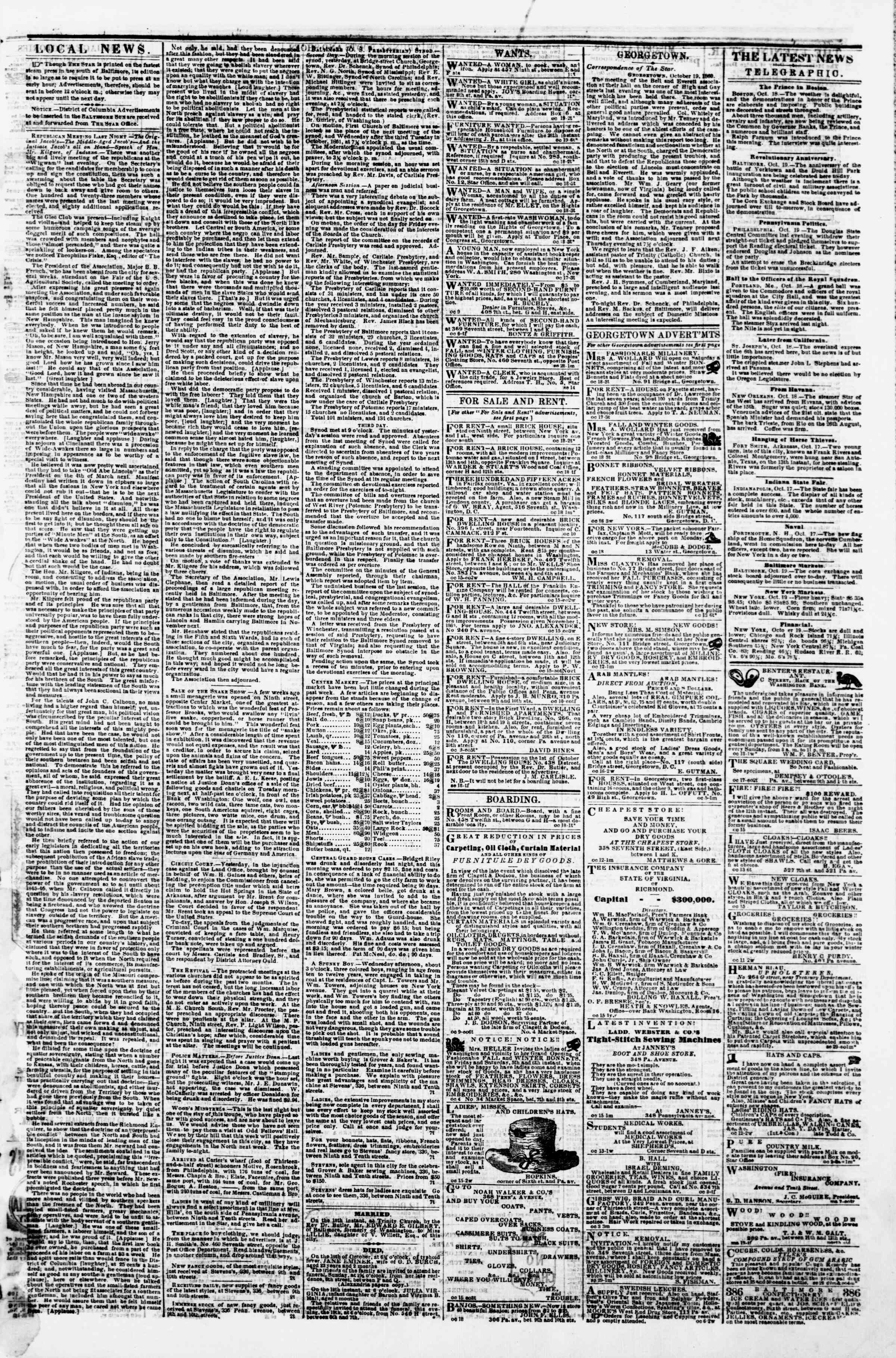 Newspaper of Evening Star dated October 19, 1860 Page 3
