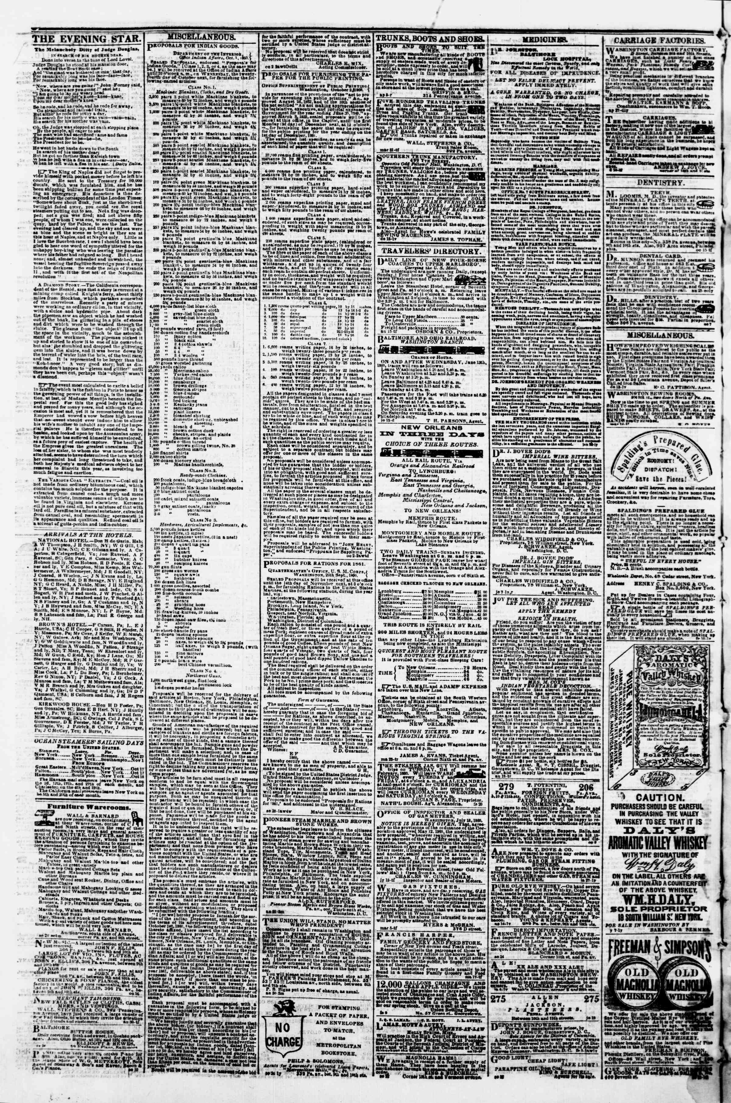 Newspaper of Evening Star dated October 19, 1860 Page 4