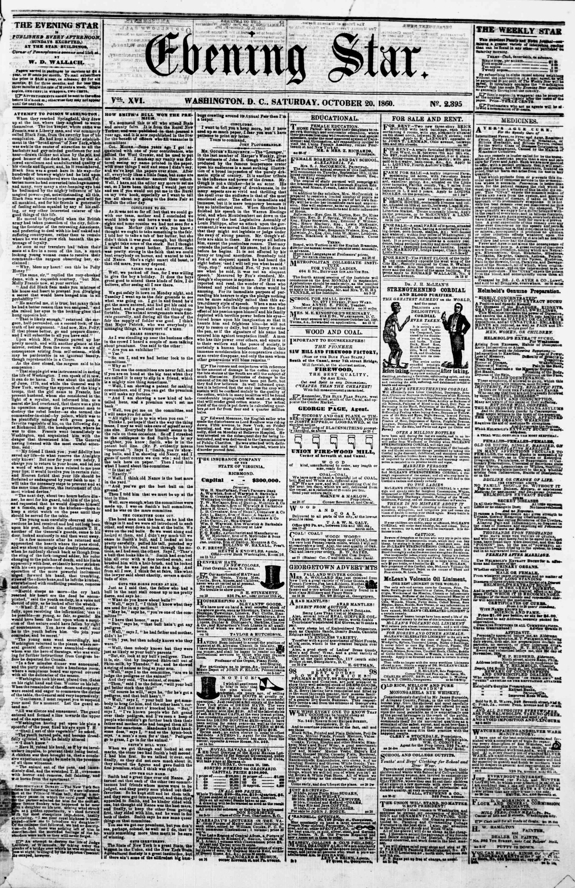 Newspaper of Evening Star dated October 20, 1860 Page 1