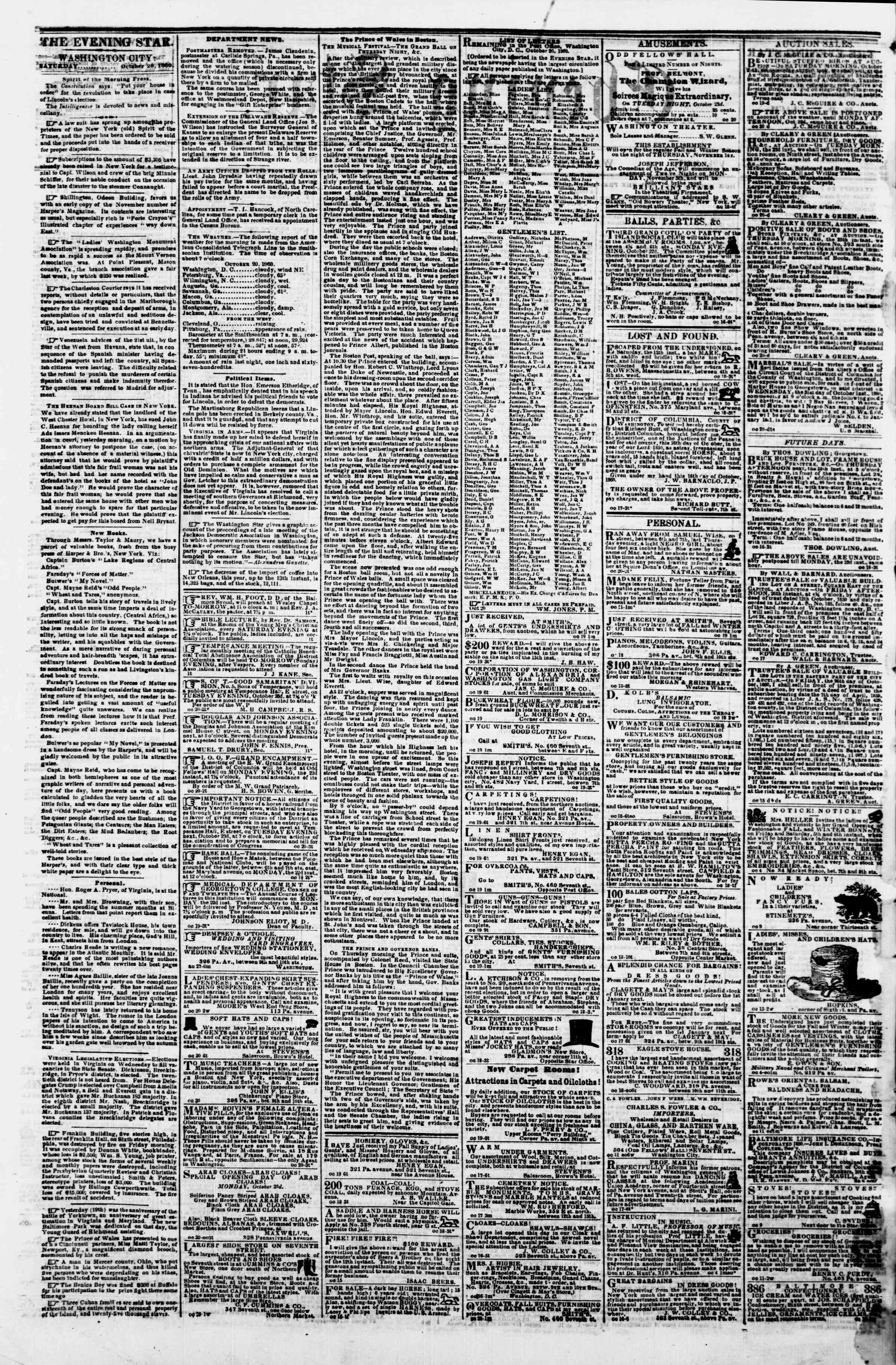 Newspaper of Evening Star dated October 20, 1860 Page 2