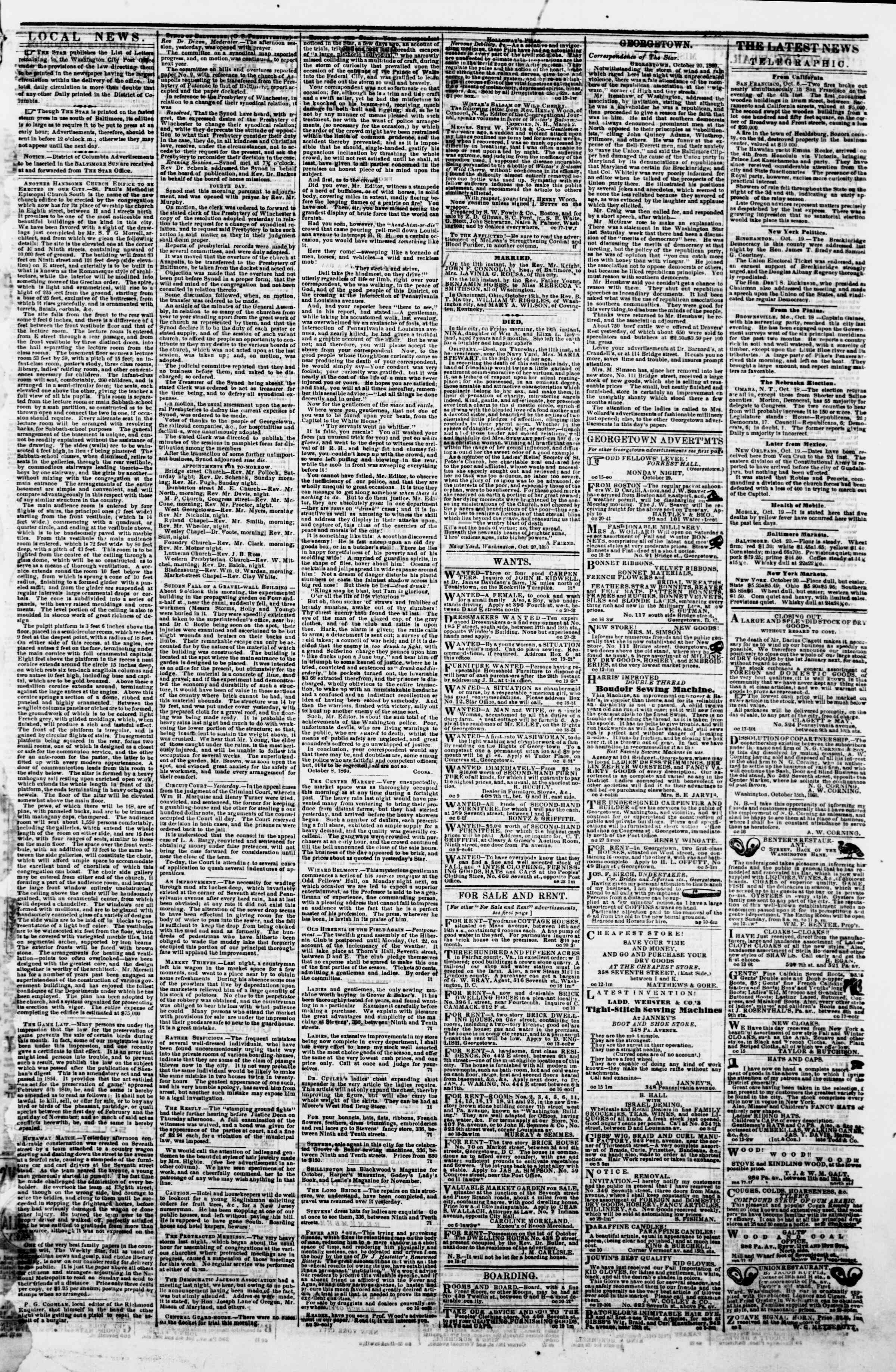 Newspaper of Evening Star dated October 20, 1860 Page 3
