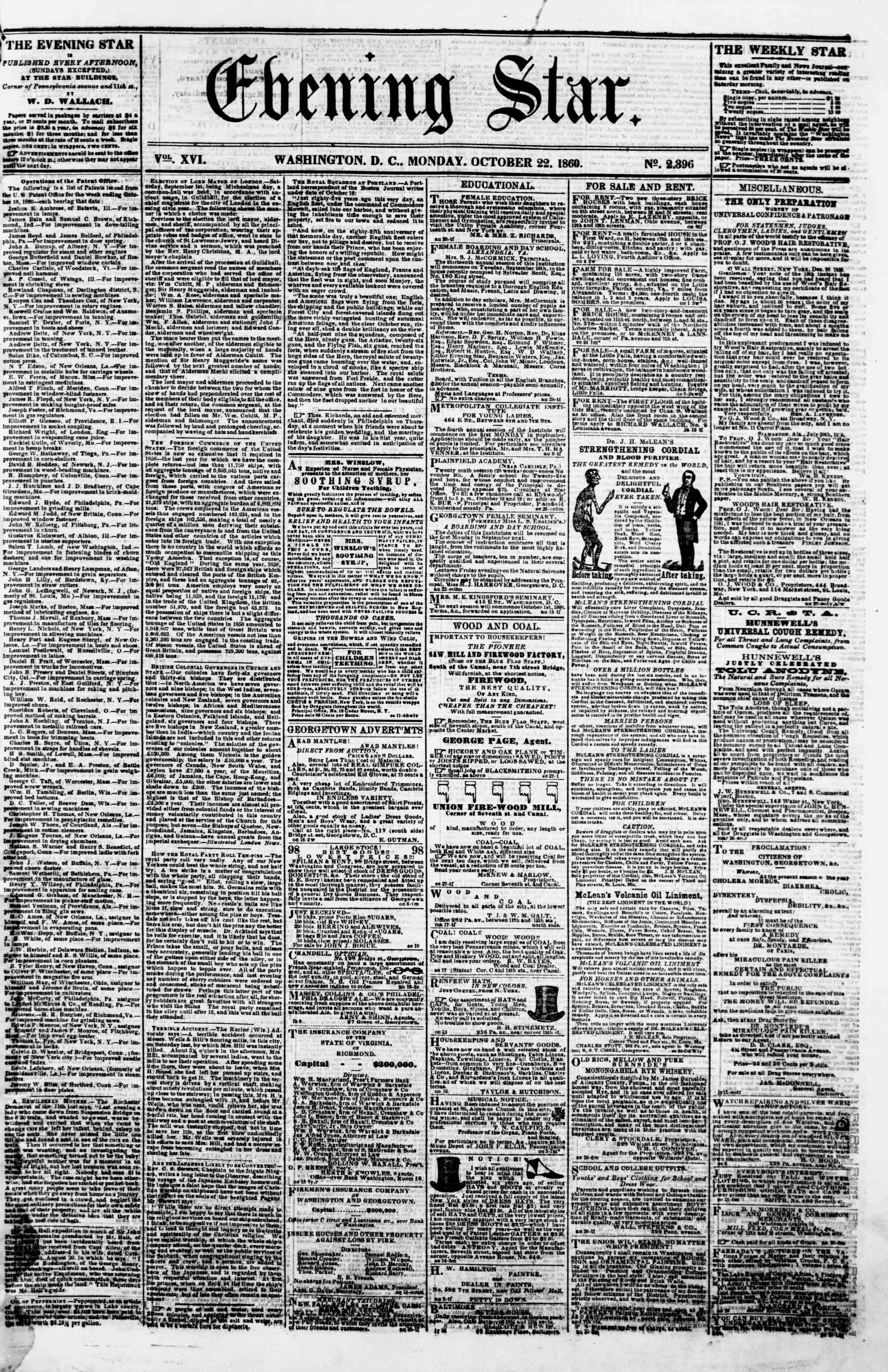 Newspaper of Evening Star dated October 22, 1860 Page 1