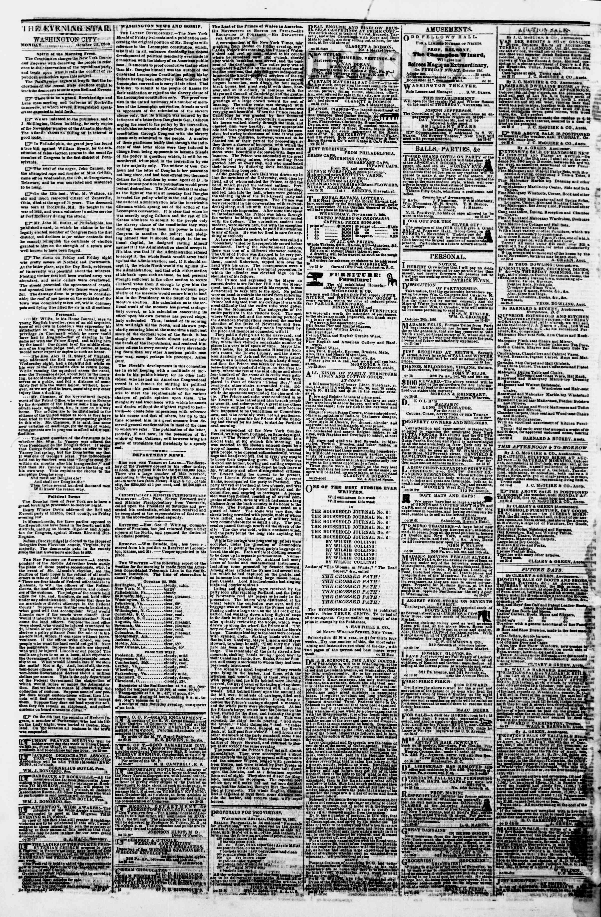 Newspaper of Evening Star dated October 22, 1860 Page 2