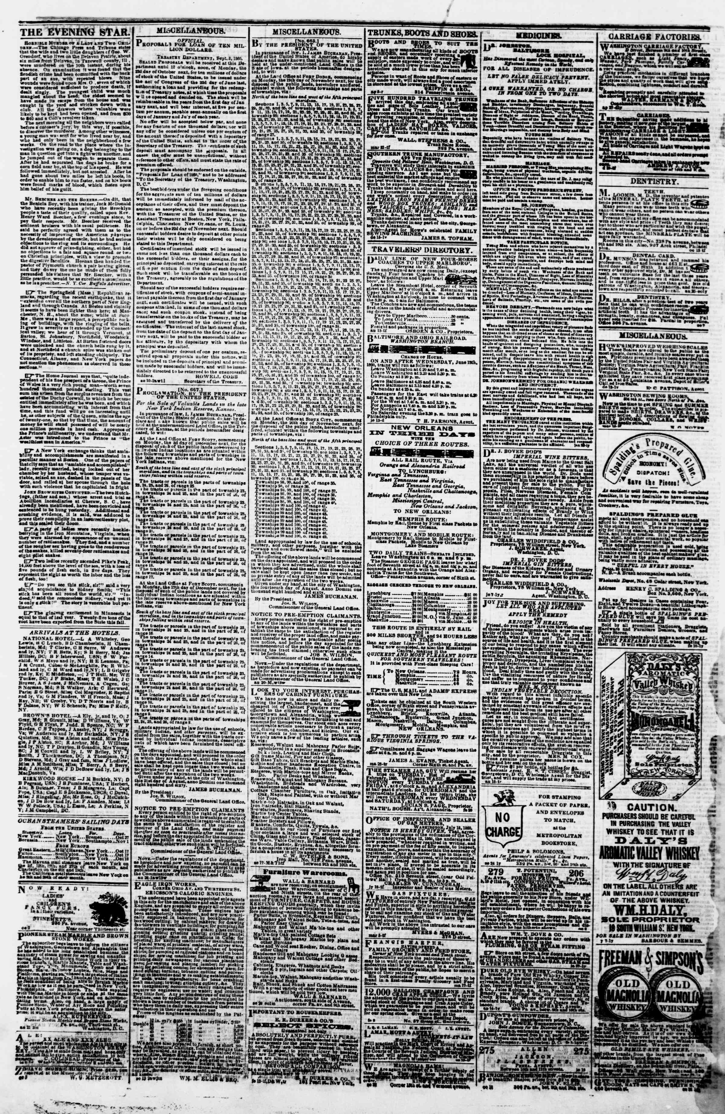 Newspaper of Evening Star dated October 22, 1860 Page 4