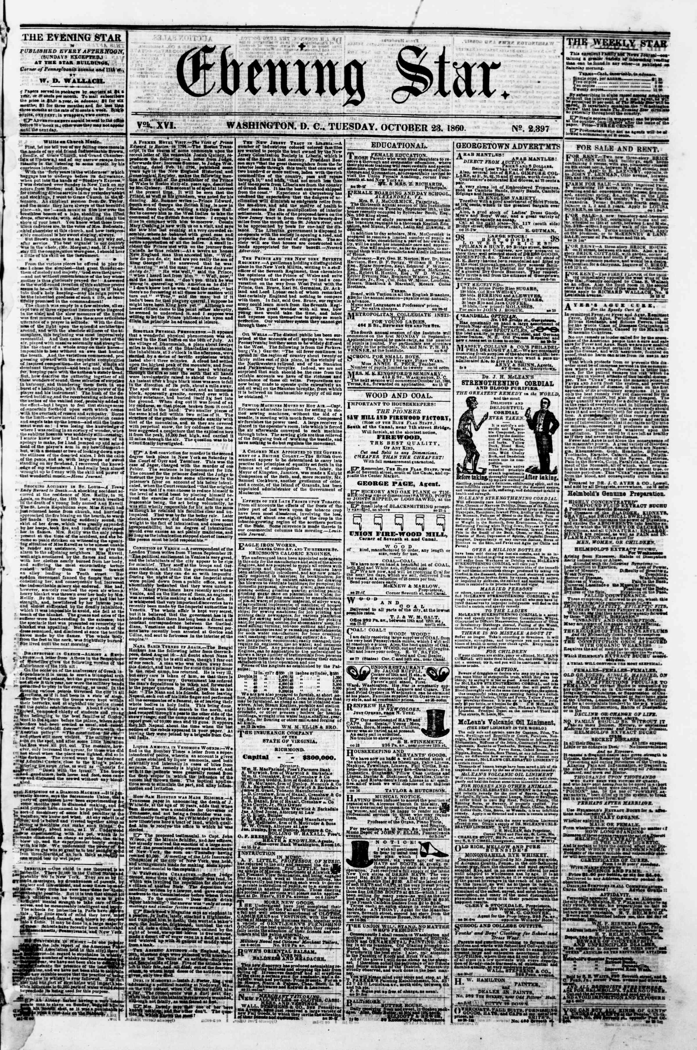 Newspaper of Evening Star dated October 23, 1860 Page 1