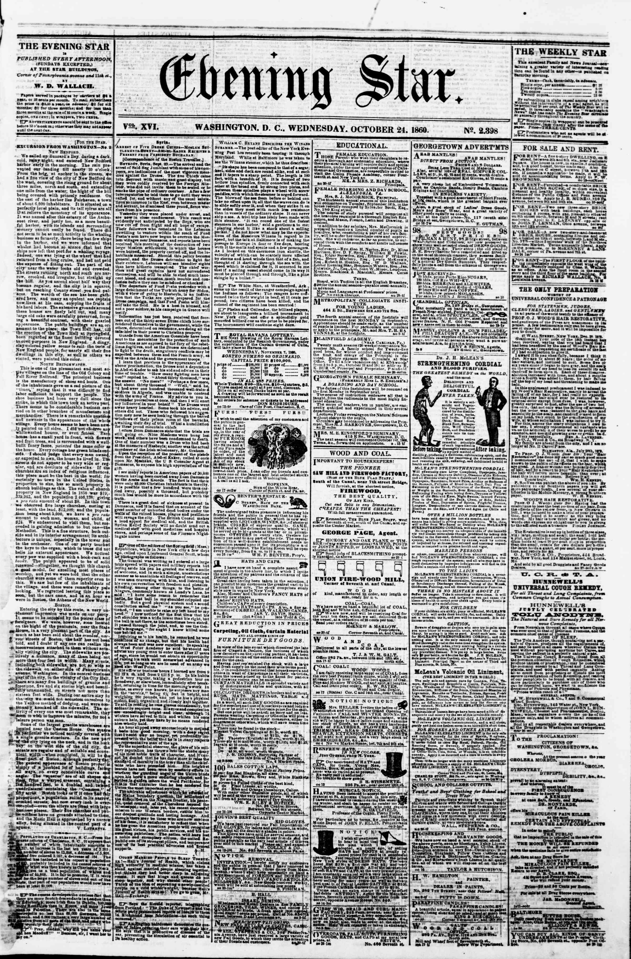 Newspaper of Evening Star dated October 24, 1860 Page 1