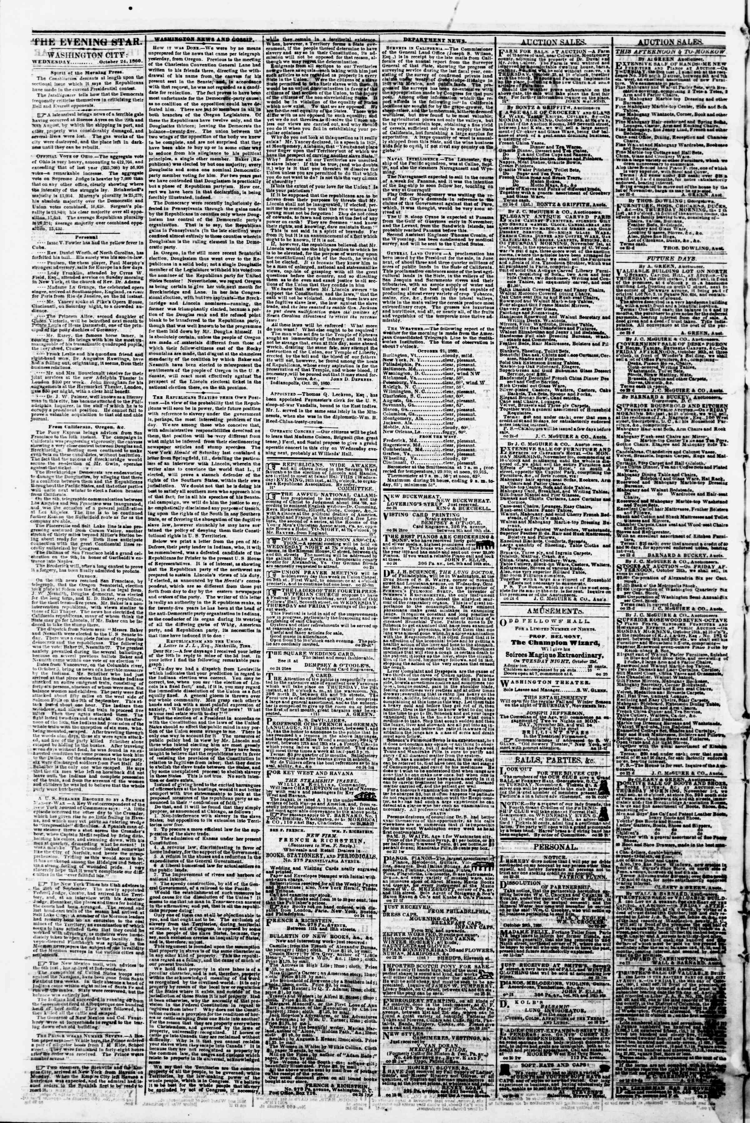 Newspaper of Evening Star dated October 24, 1860 Page 2