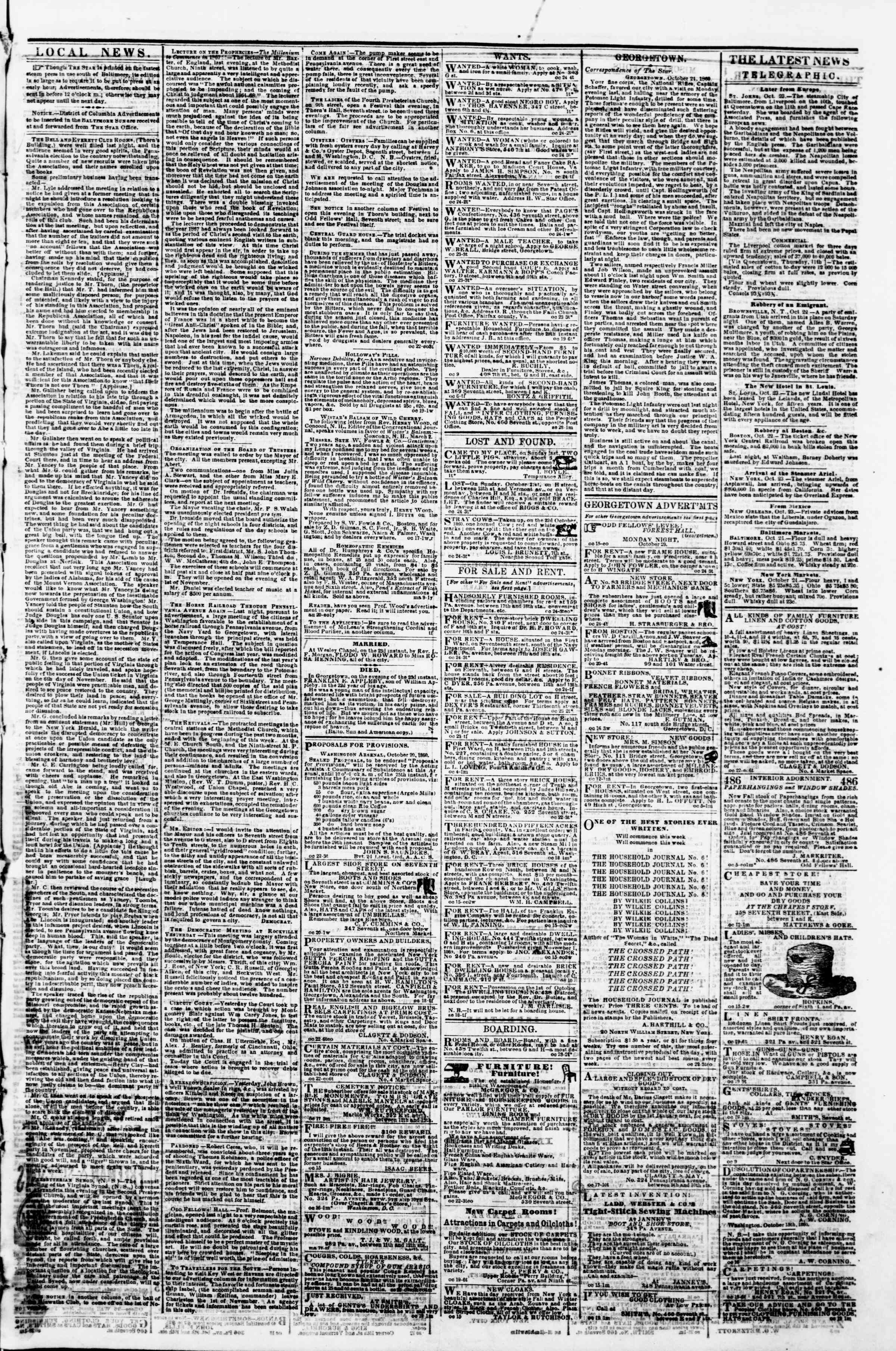 Newspaper of Evening Star dated October 24, 1860 Page 3